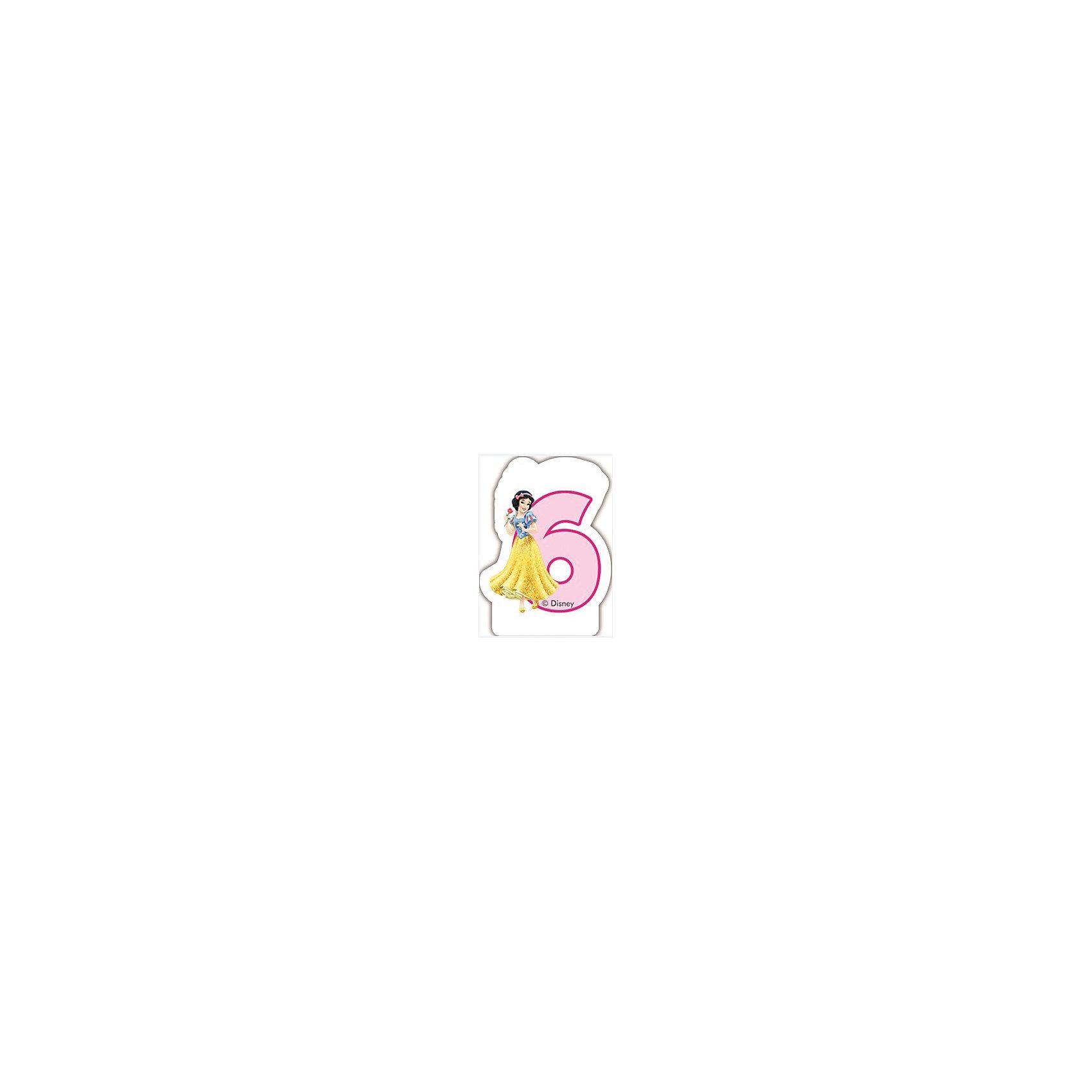 Procos Объемная свечка Принцессы 6 летОбъемная свечка в форме цифры, с изображением любимого героя - используется в оформлениях кондитерских изделий!<br><br>Ширина мм: 85<br>Глубина мм: 35<br>Высота мм: 130<br>Вес г: 33<br>Возраст от месяцев: 36<br>Возраст до месяцев: 168<br>Пол: Женский<br>Возраст: Детский<br>SKU: 2431270