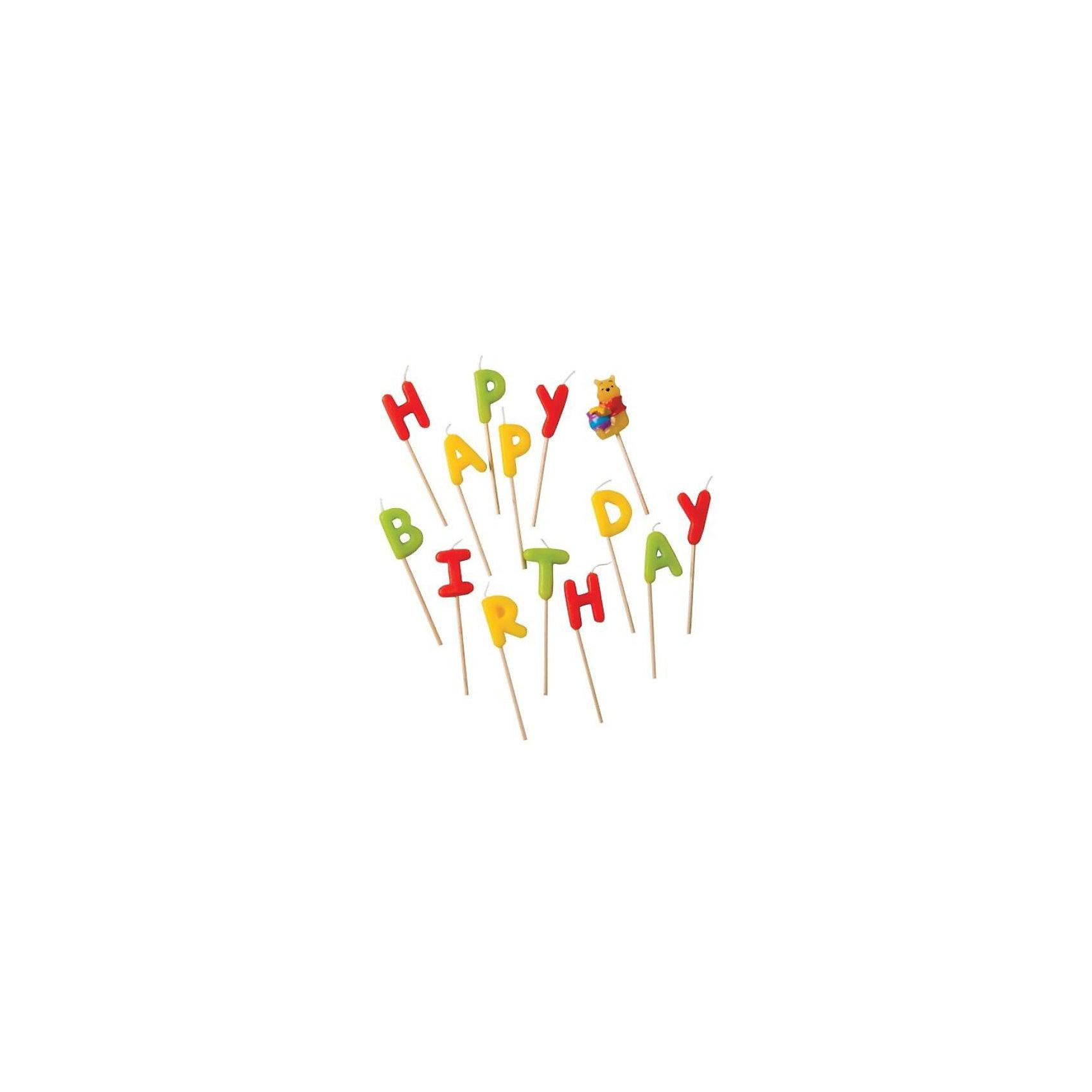 Procos Свечи-буквы Винни Happy BirthdayТакая мелочь, как свечка , позволит сделать праздник веселелым.<br><br>Ширина мм: 130<br>Глубина мм: 20<br>Высота мм: 180<br>Вес г: 125<br>Возраст от месяцев: 36<br>Возраст до месяцев: 168<br>Пол: Унисекс<br>Возраст: Детский<br>SKU: 2431277