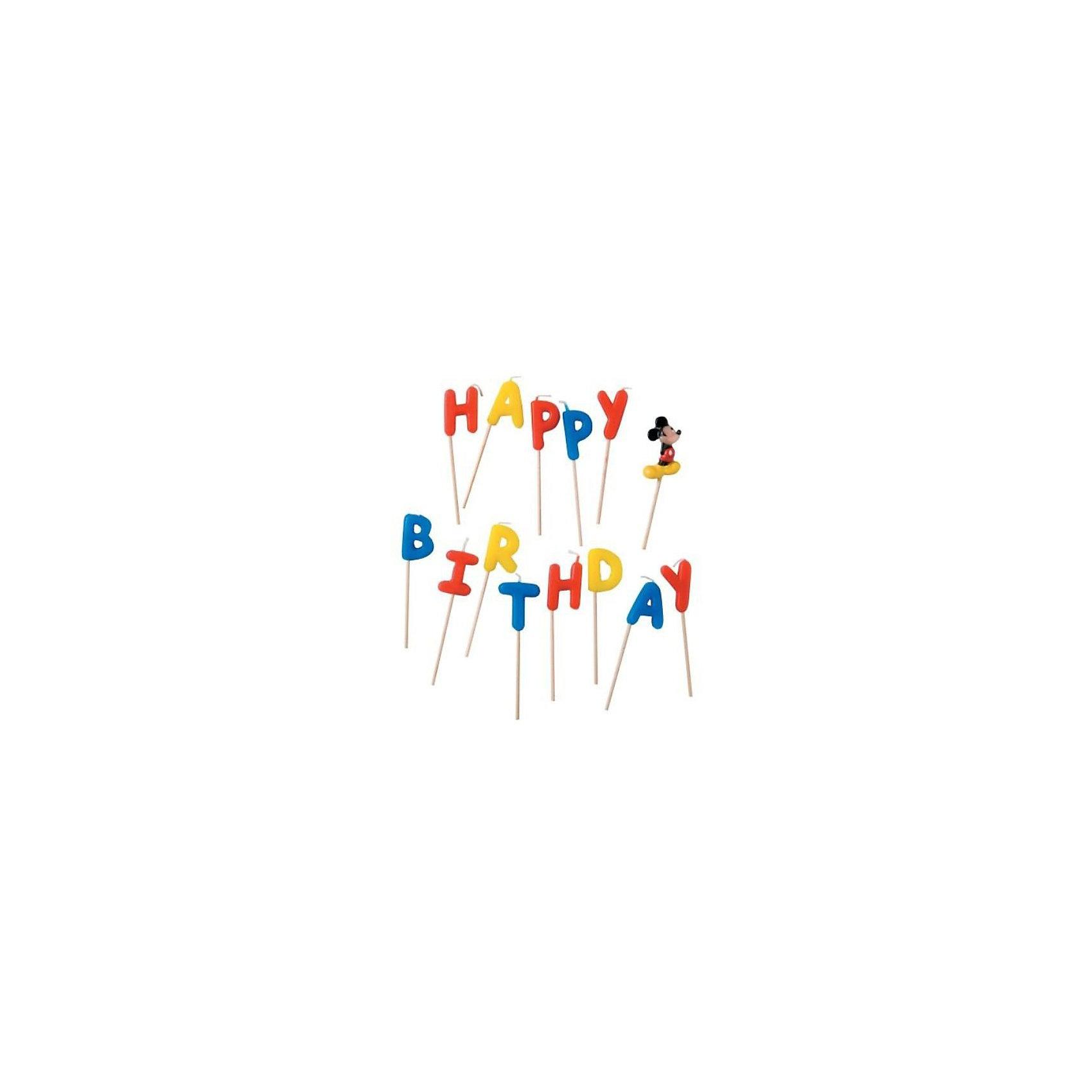 Procos Свечи-буквы Микки Маус Happy BirthdayЧудесные свечи для украшения празднчного торта позволят сделать праздник веселым. Ваш малыш будет рад увидеть на праздничном торте любимых героев!<br><br>Ширина мм: 130<br>Глубина мм: 20<br>Высота мм: 180<br>Вес г: 125<br>Возраст от месяцев: 36<br>Возраст до месяцев: 168<br>Пол: Унисекс<br>Возраст: Детский<br>SKU: 2431278