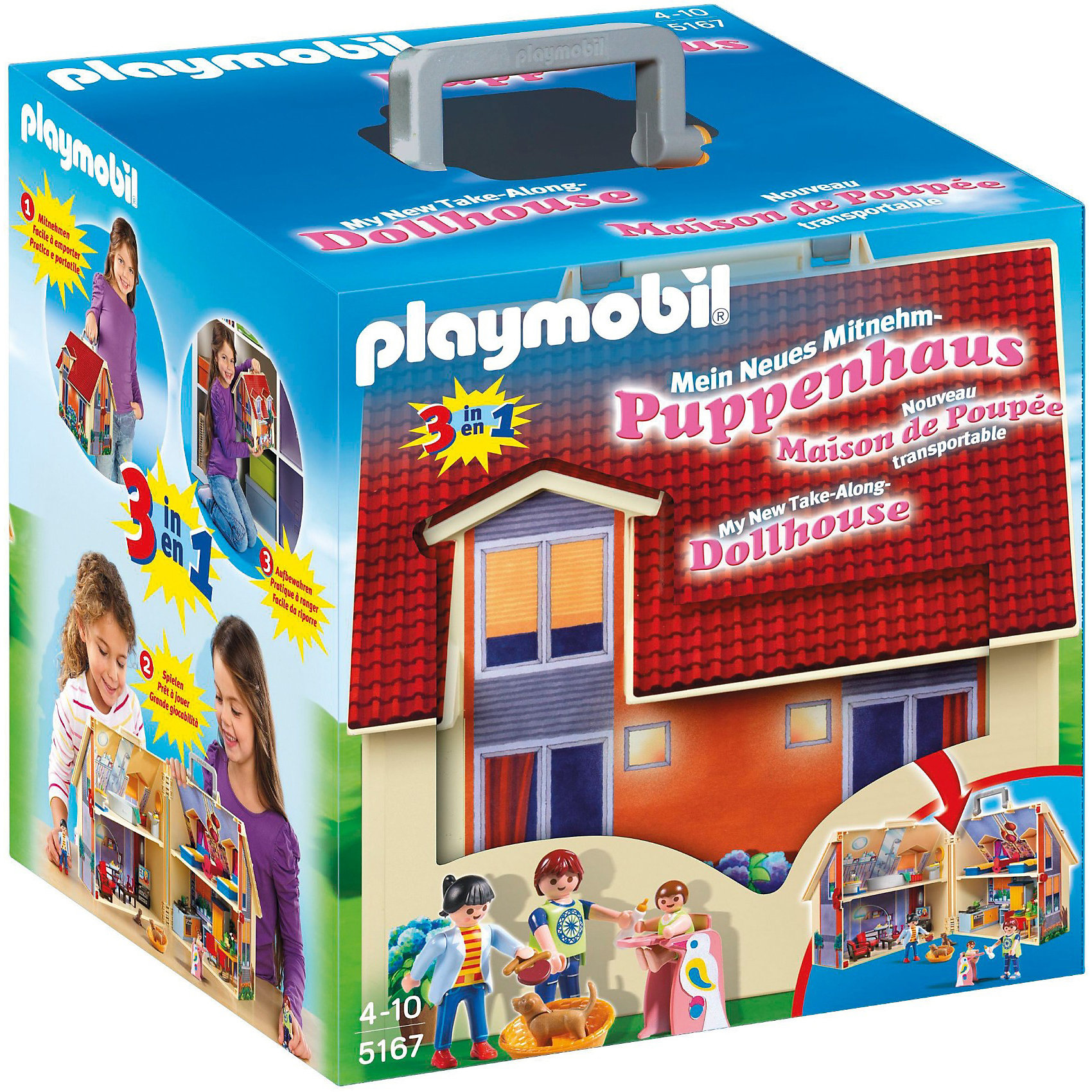 Возьми с собой: Кукольный дом, PLAYMOBILНабор Кукольный дом приведет в восторг любую девочку! В этом уютном двухэтажном домике есть все необходимое: кухня, гостиная, спальная комната, ванная комната. Множество реалистично выполненных вещей и аксессуаров сделают игру ребенка интересной и увлекательной. Также в комплекте вы найдете фигурки взрослых, фигурку ребенка и двух собак. Домик легко собирается и дополнен удобной ручкой для переноски, так что ребенок сможет брать его с собой на прогулку, в поездку или в гости. Все детали набора прекрасно проработаны, выполнены из высококачественного пластика. Играть с таким домом не только приятно и интересно - подобные виды игры развивают мелкую моторику, воображение, творческое мышление.<br><br>Дополнительная информация:<br><br>- Комплектация: кукольный домик, две фигурки взрослого человека, одна фигурка маленького человека, два щенка, домашние принадлежности (две сковородки, две зелёные тарелки, одна синяя тарелка, две корзины, фен, детская бутылочка с молоком, три зелёные чашки, одна жёлтая чашка, тапочки, ваза с цветами, два жёлтых полотенца, одно зелёное полотенце, четыре ножика, четыре вилки, два бокала, кетчуп, две зубные щётки, тюбик и щётка), мебель (холодильник, раковина с плитой. стол, два стула, детский столик, детская кроватка, две взрослые кроватки, туалет, ванна, раковина, телевизор, тумбочка, журнальный столик и два кресла).<br>- Материал: пластик.<br>- 3 фигурки в комплекте: 2 взрослых, 1 ребенок.<br>- Размер упаковки: 27 х 24 х 29 см.<br>- Размер дома: 25х26 см.<br>- Высота фигурки взрослого: 7,5 см. <br>- Голова, руки, ноги у фигурок подвижные.<br><br>PLAYMOBIL  (Плеймобил) Возьми с собой: Кукольный дом можно купить в нашем магазине.<br><br>Ширина мм: 300<br>Глубина мм: 274<br>Высота мм: 246<br>Вес г: 1532<br>Возраст от месяцев: 48<br>Возраст до месяцев: 120<br>Пол: Женский<br>Возраст: Детский<br>SKU: 2435592
