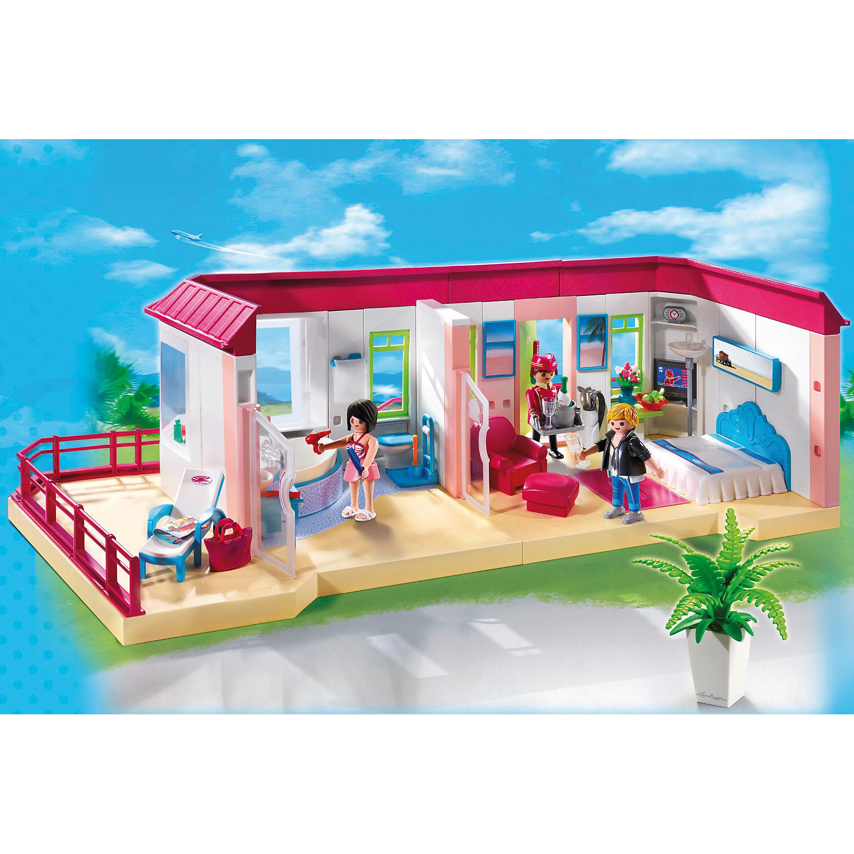 PLAYMOBIL5269 Отель: Номер люксPLAYMOBIL 5269 - это большой комфортный и уютный номер люкс для гостей отеля, который расположен на крыше отеля, с большой террасы открывается красивый панорамный вид, любоваться которым можно сидя в кресле за чашкой чая. В номере просторная гостиная, спальня, ванная комната. В комнате есть большая удобная кровать, кресло, телевизор, ковер, столик и другие предметы, создающие уют.  Дверь номера открывается карточкой ключом.<br>В наборе три человечка, большая кровать, сантехника и мебель для ванной комнаты, мебель для гостиной и шезлонг для террасы. Шезлонг можно установить на террасе и позагорать.  Набор совместим с Большим меблированным отелем и с другими наборами серии Отель можно использовать отдельно. Большой номер люкс прикрепляется к крыше отеля.<br><br>В набор Плеймобил 5269 входит  помещение гостиничного номера, 3 фигурки человечков (работник отеля и 2 отдыхающих), кровать, кресло, шезлонг, сумка, фужеры, шампанское, столик, яблоки, цветок в горшке, фен, зубные щетки, торшер, умывальник, туалет, коврик и другие детали, всего 150 деталей. <br><br>У фигурок человечков подвижные конечности - возможность вложить в руки предметы, например, фен или фужер для шампанского. <br><br>Дополнительная информация:<br><br>- материал: пластик<br>- размеры игрушки:<br>- высота фигурок человечков: 7,5 см. <br>- длина номера люкс: 61,5 см. <br>- размер коробки: 44,5х12,4 х34,8 см.<br><br>Номер люкс от PLAYMOBIL 5269 можно купить в нашем интернет-магазине.<br><br>Ширина мм: 455<br>Глубина мм: 352<br>Высота мм: 130<br>Вес г: 1962<br>Возраст от месяцев: 48<br>Возраст до месяцев: 120<br>Пол: Унисекс<br>Возраст: Детский<br>SKU: 2435617
