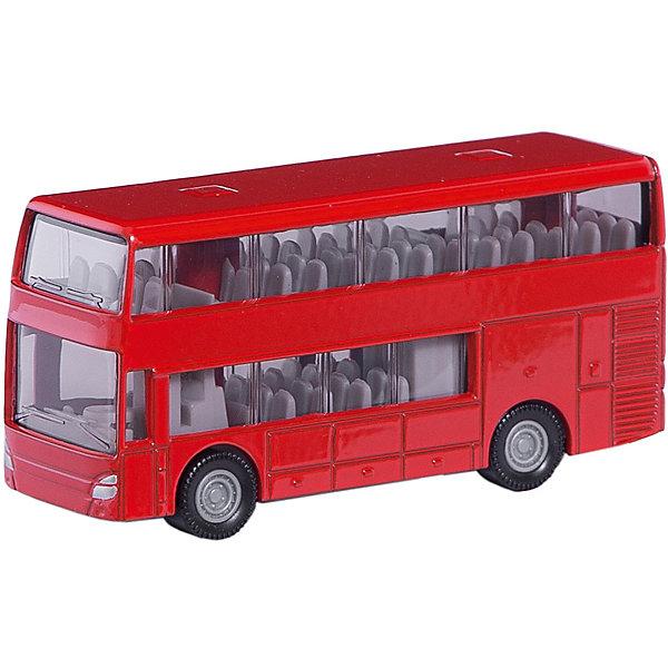 SIKU 1321 Двухэтажный автобусМашинки<br>Двухэтажный автобус, Siku, станет прекрасным пополнением коллекции юного любителя автотехники. Модель очень похожа на настоящий городской автобус и отличается высокой степенью детализации и тщательной проработкой всех элементов. Двухэтажный автобус имеет характерный дизайн с расцветкой ярко-красного цвета, через прозрачные пластиковые окна на обоих этажах хорошо просматривается салон с пассажирскими сиденьями, колеса вращаются. Корпус модели выполнен из металла, остальные детали изготовлены из ударопрочной пластмассы. <br><br>Дополнительная информация:<br><br>- Материал: металл, пластик.<br>- Размер: 7,2 x 2,3 x 3,6 см.<br>- Вес: 59 гр.<br><br>1321 Двухэтажный автобус, Siku, можно купить в нашем интернет-магазине.<br>Ширина мм: 95; Глубина мм: 78; Высота мм: 30; Вес г: 71; Возраст от месяцев: 36; Возраст до месяцев: 96; Пол: Мужской; Возраст: Детский; SKU: 2437468;