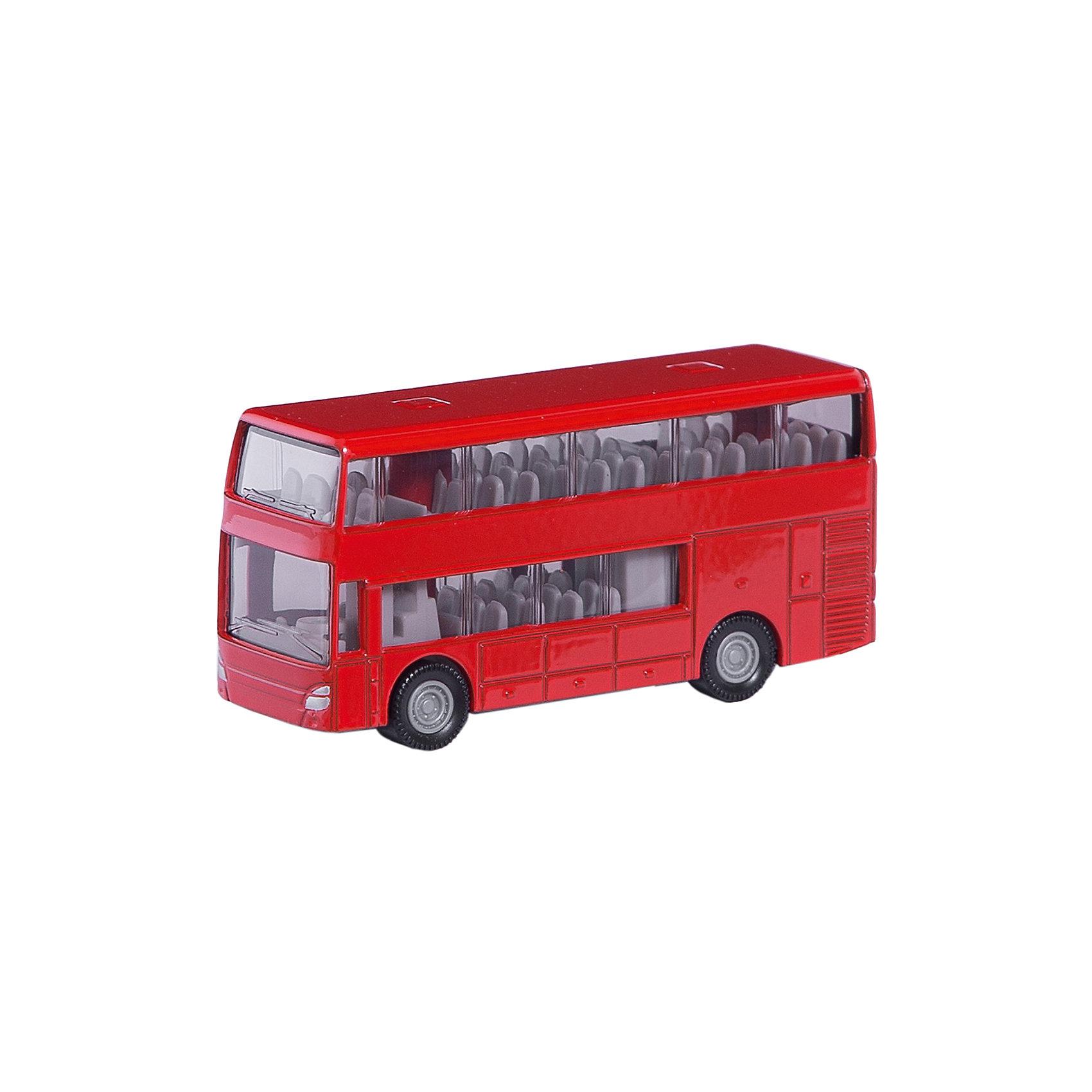 SIKU 1321 Двухэтажный автобусМашинки<br>Двухэтажный автобус, Siku, станет прекрасным пополнением коллекции юного любителя автотехники. Модель очень похожа на настоящий городской автобус и отличается высокой степенью детализации и тщательной проработкой всех элементов. Двухэтажный автобус имеет характерный дизайн с расцветкой ярко-красного цвета, через прозрачные пластиковые окна на обоих этажах хорошо просматривается салон с пассажирскими сиденьями, колеса вращаются. Корпус модели выполнен из металла, остальные детали изготовлены из ударопрочной пластмассы. <br><br>Дополнительная информация:<br><br>- Материал: металл, пластик.<br>- Размер: 7,2 x 2,3 x 3,6 см.<br>- Вес: 59 гр.<br><br>1321 Двухэтажный автобус, Siku, можно купить в нашем интернет-магазине.<br><br>Ширина мм: 95<br>Глубина мм: 78<br>Высота мм: 30<br>Вес г: 71<br>Возраст от месяцев: 36<br>Возраст до месяцев: 96<br>Пол: Мужской<br>Возраст: Детский<br>SKU: 2437468