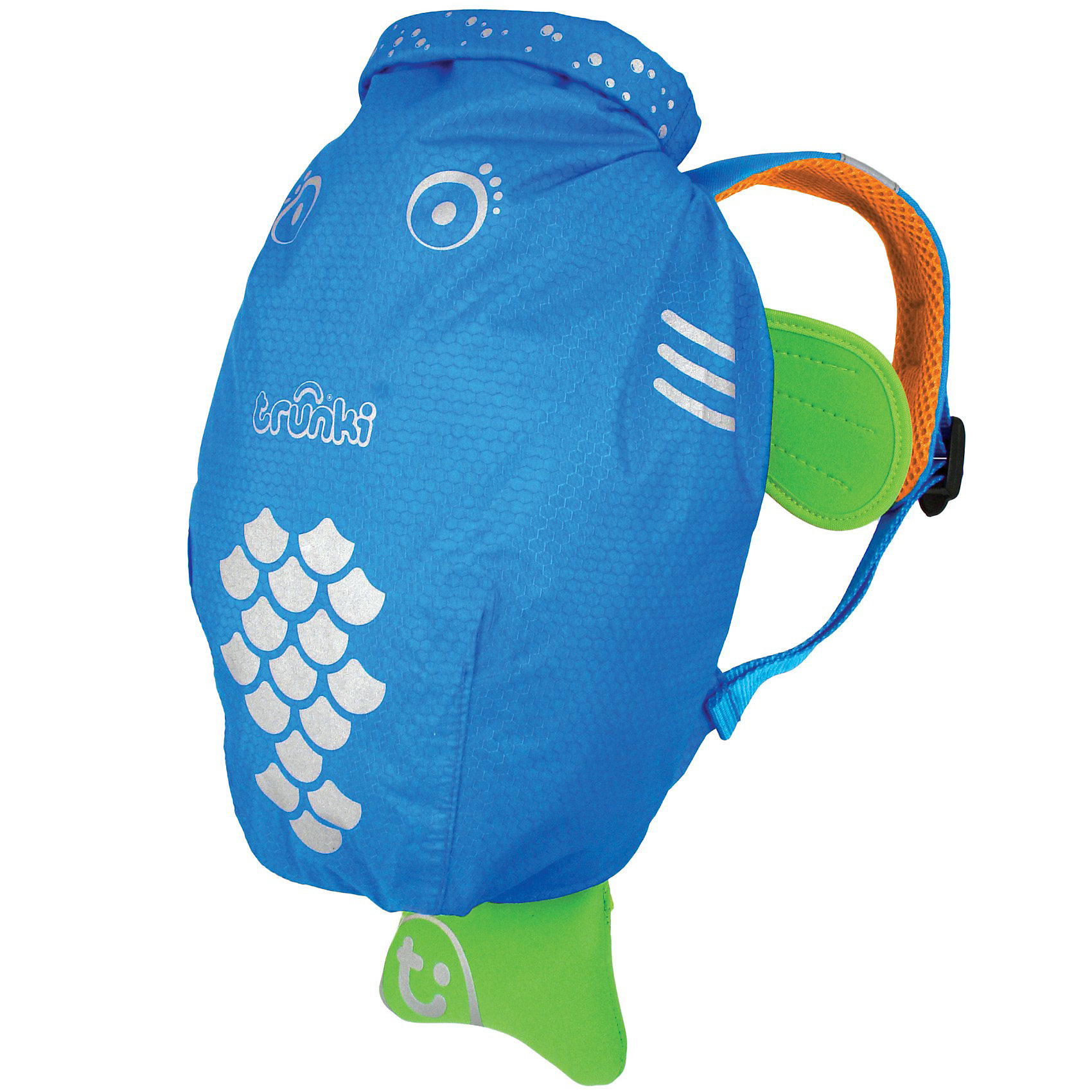 TRUNKI Рюкзак для бассейна и пляжа, голубойВодоотталкивающий рюкзак Trunki Транки голубого цвета для маленьких исследователей. Рюкзак сделан из легкого и прочного материала, он прекрасно защищен от влаги и грязи. <br>Рюкзак для бассейна и пляжа оснащен специальным креплением Trunki, с помощью него можно крепить к сумке солнцезащитные очки. Рюкзак имеет светоотражающую отделку, а также карман в виде плавника, куда можно положить различные мелочи.  <br>Рюкзак Trunki – незаменимый аксессуар для мальчика для походов в бассейн или на пляж. <br>Размер рюкзака: 49,5 х 41 см<br><br>Ширина мм: 500<br>Глубина мм: 330<br>Высота мм: 100<br>Вес г: 184<br>Возраст от месяцев: 36<br>Возраст до месяцев: 84<br>Пол: Унисекс<br>Возраст: Детский<br>SKU: 2442102
