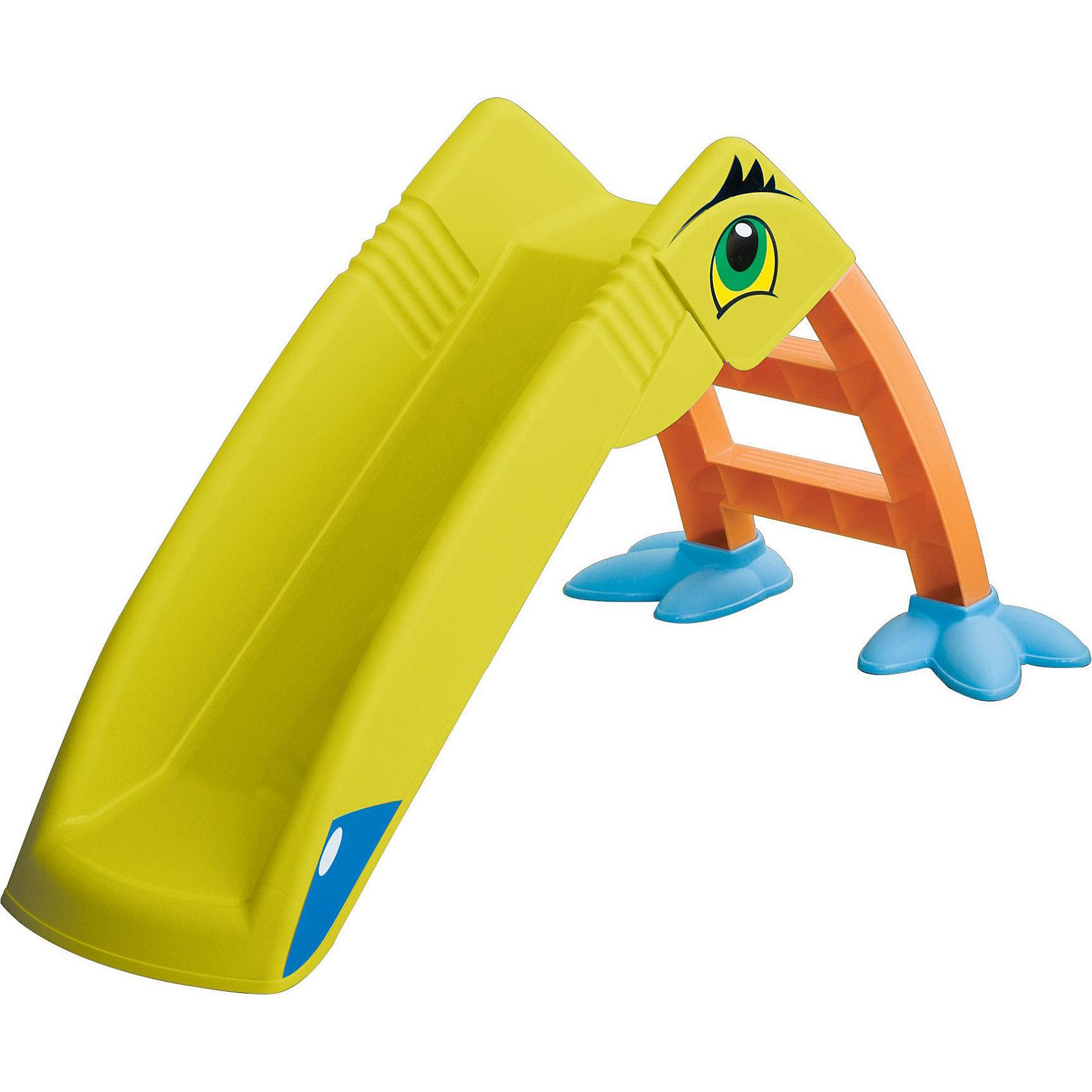 Горка - Пеликан, MarianplastMarianplast Горка – Пеликан  — забавная красочная горка в виде пеликана для детей от 1 года.<br><br>Горка состоит из лесенки и желоба для скатывания, легко и быстро собирается без использования инструментов. <br>Несмотря на небольшой вес, в собранном состоянии очень устойчива.<br>Горка изготовлена из яркого, прочного, нетоксичного пластика, устойчивого к выцветанию и воздействию влаги, с соблюдением европейского стандарта качества и безопасности для детских товаров.<br><br>Дополнительная информация:<br><br>- Материал: высокопрочный пластик <br>- Габариты: Размеры горки: 135х41х56 см. <br>- Размер упаковки: 118x31x41 см <br>- Вес: 3.9 кг.<br>- Пластиковая горка «Пеликан» от Marian Plast подходит для детей от 1,5 лет, весом от 13 до 20 кг.<br><br>Горка Пеликан стимулирует малыша к активным действиям и движению, развивает воображение. Яркая и красочная, она обязательно понравится вашему малышу.<br><br>Marianplast Горку - Пеликан можно купить в нашем магазине.<br><br>Ширина мм: 1250<br>Глубина мм: 240<br>Высота мм: 510<br>Вес г: 4790<br>Возраст от месяцев: 18<br>Возраст до месяцев: 84<br>Пол: Унисекс<br>Возраст: Детский<br>SKU: 2442773
