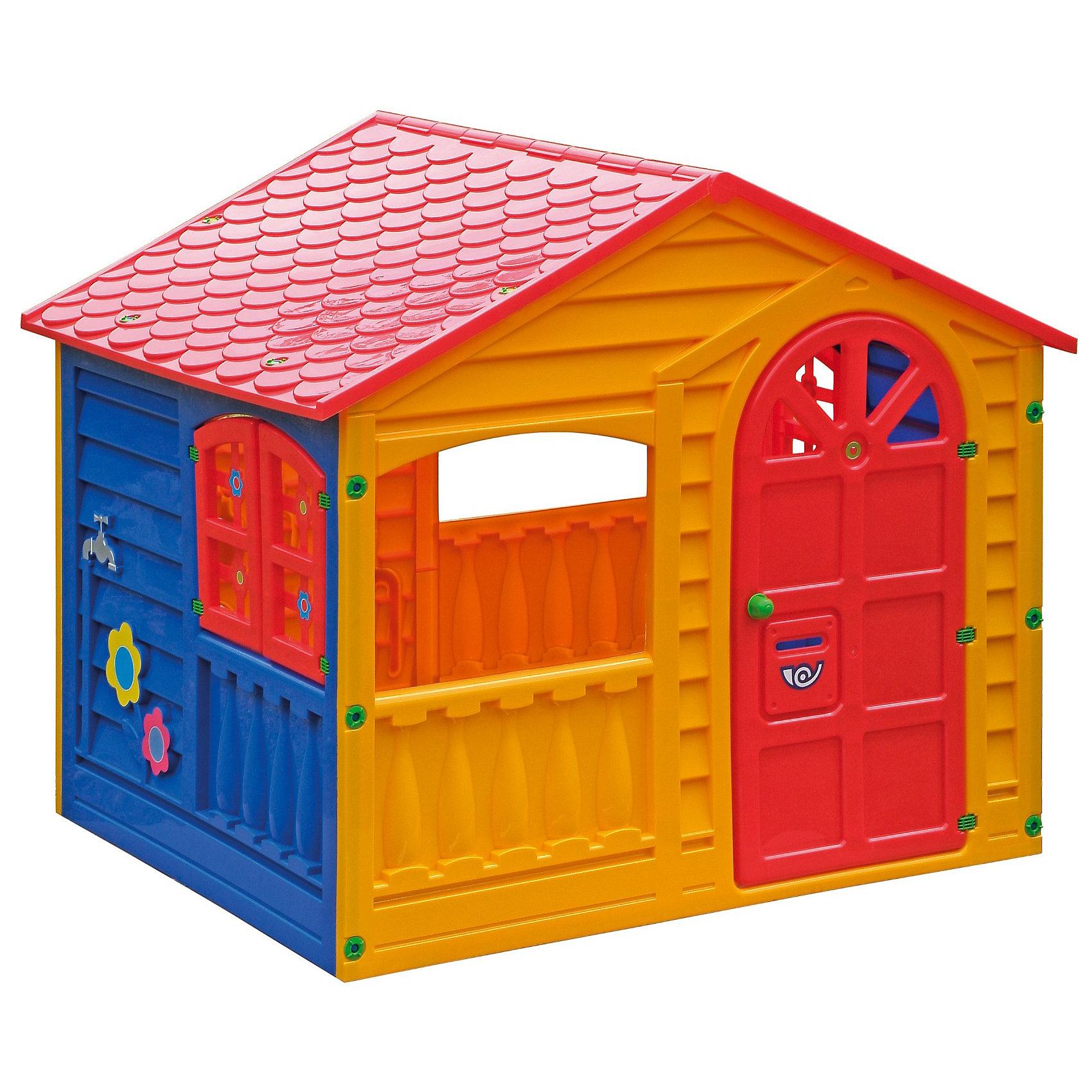 PalPlay Домик ИгровойДомики и мебель<br>Marianplast Домик Игровой- это чудесный, яркий домик, который подходит как для закрытого помещения, так и для улицы.<br><br>Яркие цвета домика очень нравятся детям. Конструкция домика очень надежная и устойчивая.<br>Домик быстро и легко собирается, специальные инструменты для сборки не требуются. Отдельные детали крепятся между собой при помощи пластиковых гаек, которые входят в комплект. <br>Домик выполнен из гипоаллергенного пластика, устойчивого к выцветанию с соблюдением Европейских стандартов качества для детских товаров.  <br><br>Дополнительная информация:<br><br>- Размер домика 130x109x115 см.<br>- Вес 18,2 кг, с упаковкой 20,29 кг.<br>- Размер упаковки 132х116х16 см.<br><br> В этом домике ваш малыш не только будет увлеченно играть, но и сможет принимать гостей. Домик стимулирует малыша к движению, развивает воображение и стратегическое мышление.<br><br>Ширина мм: 1300<br>Глубина мм: 1090<br>Высота мм: 1150<br>Вес г: 18230<br>Возраст от месяцев: 18<br>Возраст до месяцев: 144<br>Пол: Унисекс<br>Возраст: Детский<br>SKU: 2442781