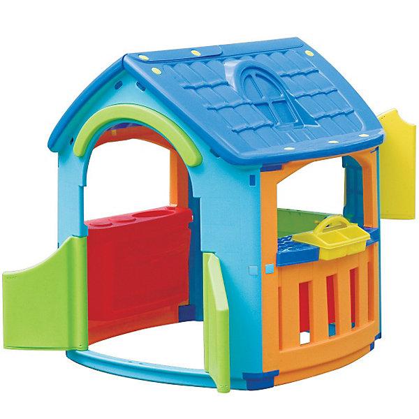 PalPlay Домик - Кухня - МастерскаяДомики и мебель<br>Чудесный игровой домик Marian Plast, сочетающий в себе кухню и мастерскую, понравится как мальчикам, так и  девочкам, подходит для детей от 2 лет,как для закрытого помещения, так и для улицы.<br><br>Домик быстро и легко собирается, выполнен из гипоаллергенного пластика, устойчивого к выцветанию с соблюдением Европейских стандартов качества для детских товаров.  <br>Специальные инструменты для сборки не требуются. Отдельные детали крепятся между собой при помощи пластиковых гаек, которые входят в комплект. Конструкция домика Marian Plast  Кухня Мастерская очень надежная и устойчивая.<br>Домик выполнен из приятного шероховатого пластика.<br>Распашные дверки открываются в любую сторону, в закрытом состоянии одна створка фиксируется снизу. Из трех окошек на террасе одно имеет ставенки, которые так же фиксируются в закрытом состоянии.<br><br>Дополнительная информация:<br><br>- Размер домика: 101x108x110.5 см <br>- Размер упаковки 114x92x33 см <br>- Вес: 15,13 кг, с упаковкой 18,01 кг<br><br> В этом домике ваш малыш не только будет увлеченно играть, но и сможет принимать гостей. Комплекс стимулирует малыша к движению, развивает воображение и стратегическое мышление.<br><br>Ширина мм: 1010<br>Глубина мм: 1080<br>Высота мм: 1105<br>Вес г: 17980<br>Возраст от месяцев: 18<br>Возраст до месяцев: 144<br>Пол: Унисекс<br>Возраст: Детский<br>SKU: 2442784