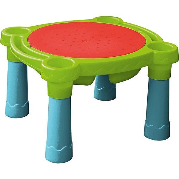 Игровой стол для воды и песка, PalPlayДомики и мебель<br>Стол Песок - Вода Marian Plast -стол-песочница с отделением для воды и песка, в который смогут играть сразу несколько ребятишек.<br><br>В столешнице 2 больших отделения (можно насыпать песочек или налить воды) и 4 небольших круглых по углам (для мелких игрушек).<br>Крышка из шершавого пластика просто укладывается сверху на столешницу, плотно прилегая. Теперь можно играть в любые настольные игры.<br>Ножки стола легко снимаются, и он превращается в обыкновенную песочницу, которую можно разместить на траве или песке. <br>Стол-песочница сделан из прочного, гипоаллергенного пластика, с соблюдением европейского стандарта качества и безопасности для детских товаров <br><br>Дополнительная информация:<br><br>- В комплект входят: столешница; крышка; 4 ножки. <br>- Размер упаковки: 77х66х15h см.<br>Размер в собранном виде: столика 74х66х44h см, без ножек - 74х66х15h см; крышка - диаметр 56 см. <br>- Вес: 3,7 кг, с упаковкой 4,5 кг<br><br>Ширина мм: 765<br>Глубина мм: 680<br>Высота мм: 175<br>Вес г: 4420<br>Возраст от месяцев: 24<br>Возраст до месяцев: 144<br>Пол: Унисекс<br>Возраст: Детский<br>SKU: 2442789