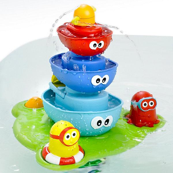 Пирамидка Фонтан, YookidooИгрушки для ванной<br>Yookidoo Пирамидка Фонтан – красивая и яркая игрушка для ванны. <br><br>В то время как нижняя часть фонтана плавает на воде, насос качает воду через центральную часть, создавая волшебный фонтан. У ребенка есть много вариантов изменить маршрут воды.<br><br>Особенности:<br><br>- Плавучая база с креплением на присосках и насосом легко крепится на дне ванной. <br>- Насос качает воду через центральную часть, создавая волшебный фонтан.<br>- На базе размещаются лодочки, две  фигурки, кнопка с глазками для включения подачи воды. <br>- Меняя фигурки и лодочки наверху, создаем разные эффекты волшебного фонтана.<br><br>Игрушка учит различать формы, развивает свето- и цвето- восприятие, мелкую моторику, слуховые навыки, внимание, память, логическое мышление и  творческое воображение. Эта замечательная пирамидка-фонтан обязательно порадует вашего ребенка!<br><br>Дополнительная информация:<br><br>- В комплекте 5 предметов: плавучая база с креплением, 3 лодочки с глазками, 2 фигурки.<br>- Материал: пластмасса.<br>- Размер: 40,5x27,5x11 см<br><br>Ширина мм: 405<br>Глубина мм: 275<br>Высота мм: 110<br>Вес г: 1120<br>Возраст от месяцев: 12<br>Возраст до месяцев: 36<br>Пол: Унисекс<br>Возраст: Детский<br>SKU: 2442791