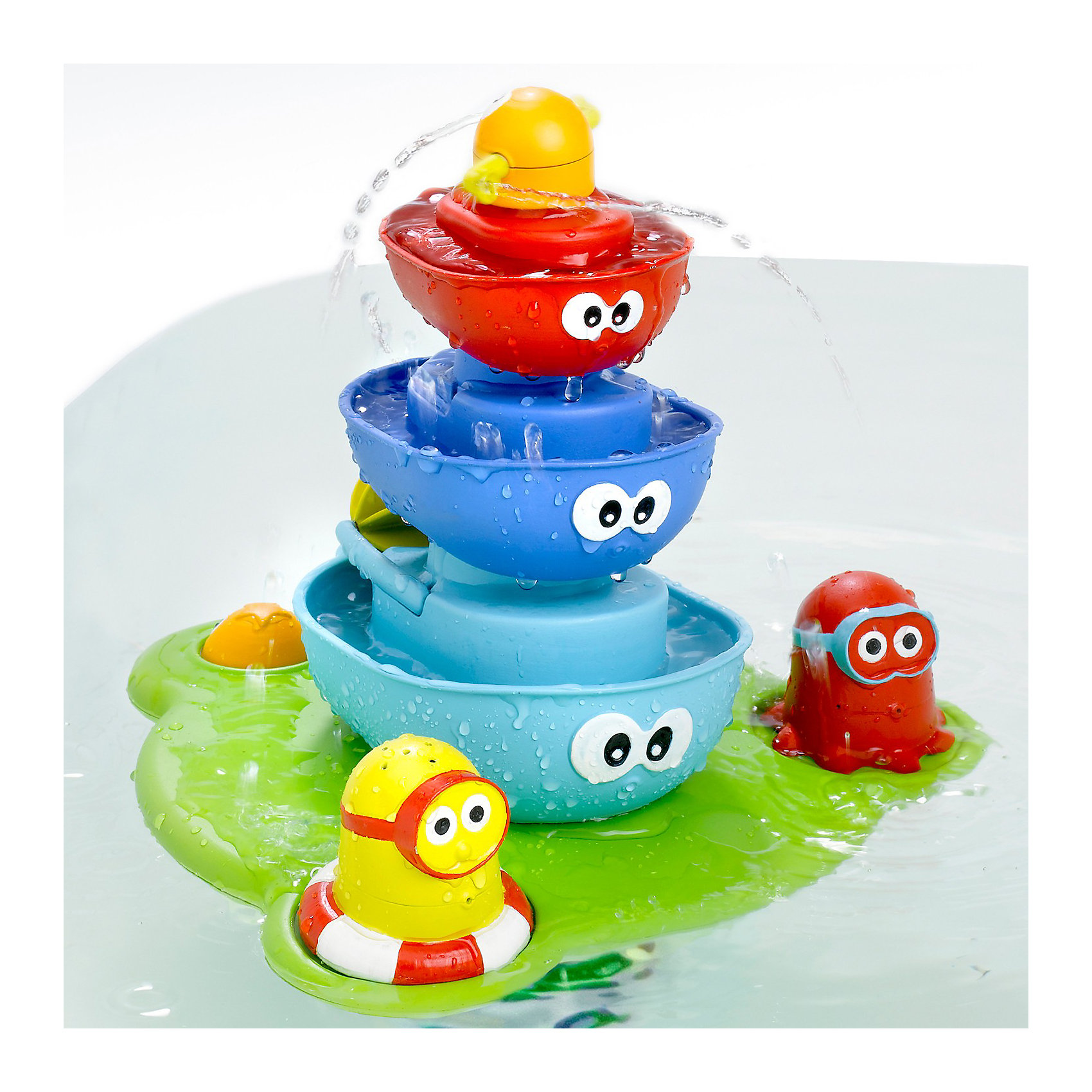 Пирамидка Фонтан, YookidooИдеи подарков<br>Yookidoo Пирамидка Фонтан – красивая и яркая игрушка для ванны. <br><br>В то время как нижняя часть фонтана плавает на воде, насос качает воду через центральную часть, создавая волшебный фонтан. У ребенка есть много вариантов изменить маршрут воды.<br><br>Особенности:<br><br>- Плавучая база с креплением на присосках и насосом легко крепится на дне ванной. <br>- Насос качает воду через центральную часть, создавая волшебный фонтан.<br>- На базе размещаются лодочки, две  фигурки, кнопка с глазками для включения подачи воды. <br>- Меняя фигурки и лодочки наверху, создаем разные эффекты волшебного фонтана.<br><br>Игрушка учит различать формы, развивает свето- и цвето- восприятие, мелкую моторику, слуховые навыки, внимание, память, логическое мышление и  творческое воображение. Эта замечательная пирамидка-фонтан обязательно порадует вашего ребенка!<br><br>Дополнительная информация:<br><br>- В комплекте 5 предметов: плавучая база с креплением, 3 лодочки с глазками, 2 фигурки.<br>- Материал: пластмасса.<br>- Размер: 40,5x27,5x11 см<br><br>Ширина мм: 405<br>Глубина мм: 275<br>Высота мм: 110<br>Вес г: 1120<br>Возраст от месяцев: 12<br>Возраст до месяцев: 36<br>Пол: Унисекс<br>Возраст: Детский<br>SKU: 2442791