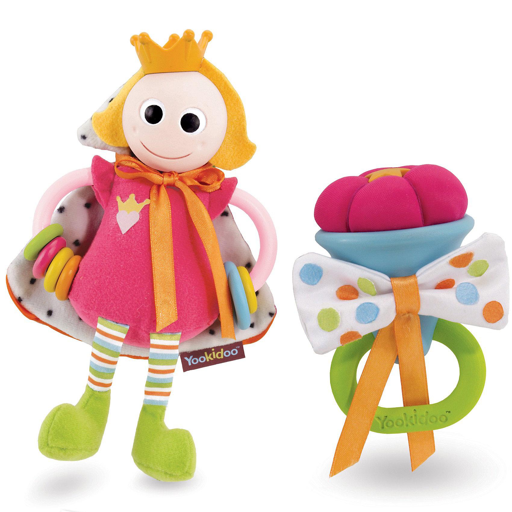 Yookidoo ПринцессаПогремушки<br>Yookidoo Принцесса – веселая игрушка-погремушка для вашего малыша, выполненная из яркого и мягкого материала.<br><br>У красавицы Принцессы пластиковая голова и корона, ручки, на которые одето по несколько цветных колечек, мантия с шуршащим наполнителем. Мантия из ткани разной фактуры, на атласной завязочке. Забавные мягкие ножки. Есть петелька для подвешивания <br><br>Скипетр  выполнен из мягкого пластика, его можно использовать как прорезыватель для зубов малыша. Бантик из атласной ткани с шуршащим наполнителем. <br><br>Дополнительная информация:<br><br>- В комплект входят: принцесса, скипетр, колечко для подвешивания. <br>- Материал: пластмасса, текстиль. <br>- Размеры: 19.6 x 8.5 x 20.5 <br><br>Погремушка великолепно развивает работу кисти и укрепляет мускулатуру рук. Мягкий материал и мелкие детали способствуют развитию мелкой моторики пальчиков рук и тактильных ощущений малыша, стимулирует развитие органов зрения, слуха, способствует развитию координации взгляда и движения рук, чтобы достать до предмета,  создает условия для эмоционального и социального развития.<br><br>Ширина мм: 196<br>Глубина мм: 85<br>Высота мм: 205<br>Вес г: 233<br>Возраст от месяцев: 3<br>Возраст до месяцев: 24<br>Пол: Унисекс<br>Возраст: Детский<br>SKU: 2442792