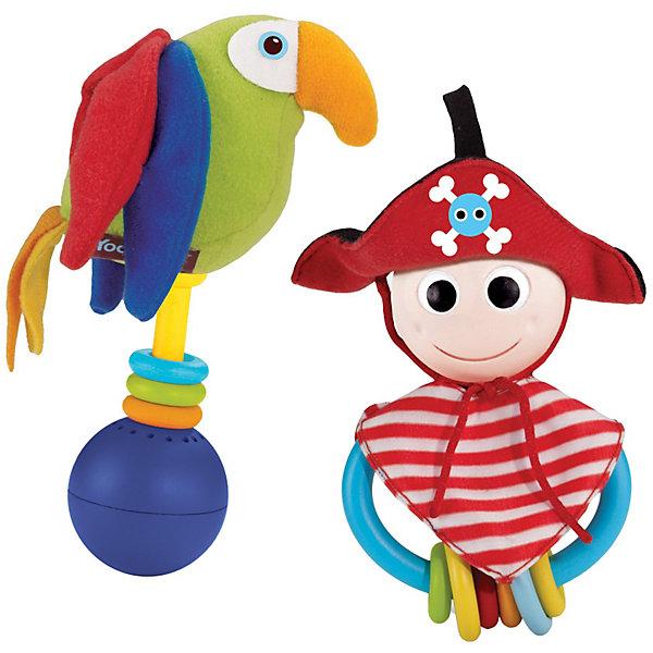 Yookidoo Веселый пиратПираты<br>Yookidoo Веселый пират – погремушка, прорезыватель.<br>Яркие погремушки из набора Веселый пират легко держать в руке, изучая многочисленные текстуры, бусинки и даже пробуя их на зубок! <br><br>Веселый пират с большими круглыми глазами привлекает внимание ребенка.<br>Друг Попугай издает свист, при встряхивании или ударе о поверхность раздается приятная музыка.<br>Есть кнопка Включения/ Выключения для бесшумной игры.<br><br>Дополнительная информация:<br><br>- В комплект входит: Веселый пират, его друг Попугай со звуковым эффектом и кольцо для подвешивания.<br>- Батарейки 3хLR44 (входят в комплект).<br>- Материал: пластмасса, текстиль.<br>- Размеры: 19.6 x 8.5 x 20.5 см.<br><br>Погремушка великолепно развивает работу кисти и укрепляет мускулатуру рук. Мягкий материал и мелкие детали способствуют развитию мелкой моторики пальчиков рук и тактильных ощущений малыша.<br><br>Ширина мм: 196<br>Глубина мм: 85<br>Высота мм: 205<br>Вес г: 233<br>Возраст от месяцев: 3<br>Возраст до месяцев: 24<br>Пол: Женский<br>Возраст: Детский<br>SKU: 2442794