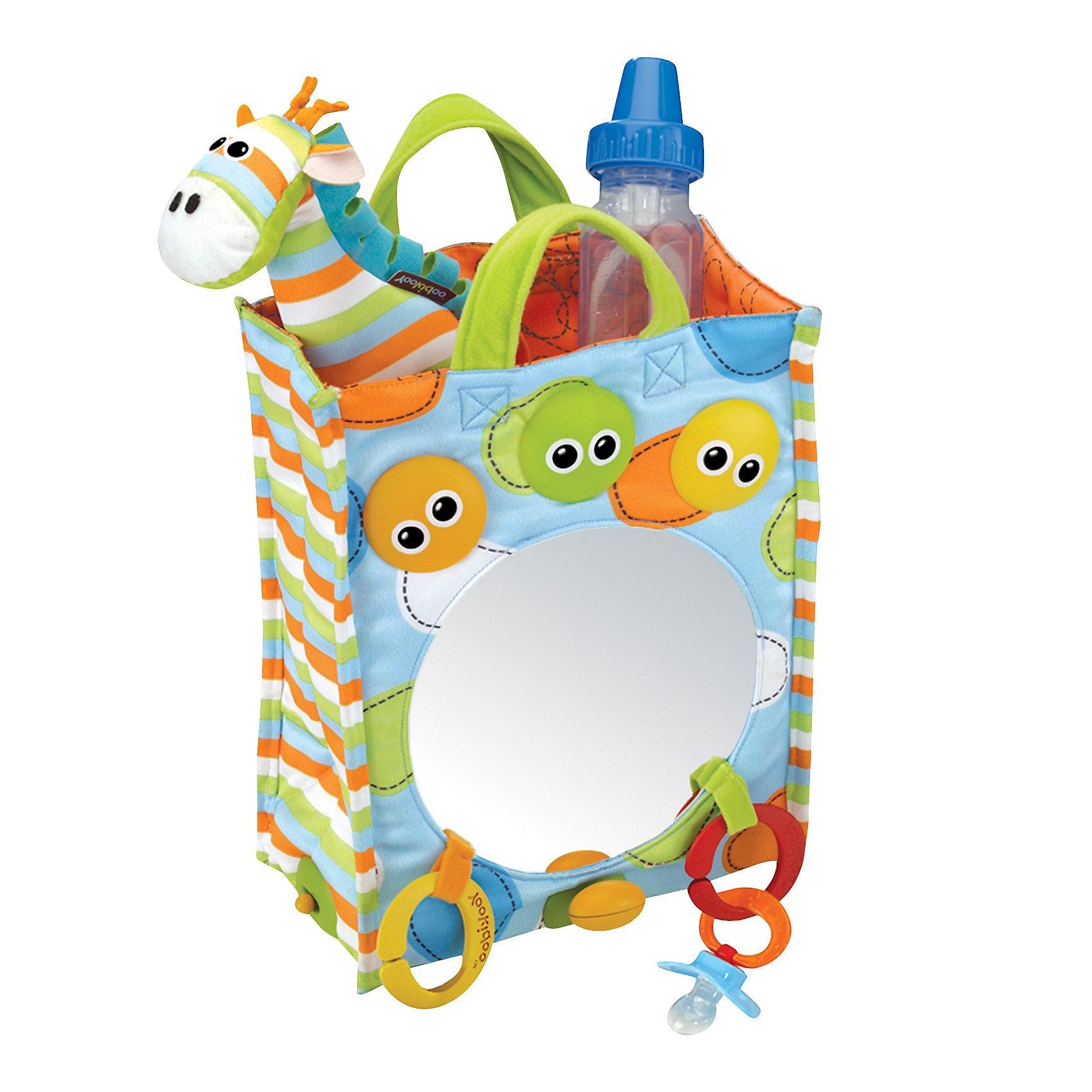 Yookidoo Сумочка ЗеркалоYookidoo Сумочка Зеркало– необычная сумочка с зеркалом и смешной Жирафик. В сумочку можно не только складывать игрушки малыша, но и играть с ней!<br><br>Жираф - мягкая игрушка-погремушка с милой мордочкой-вышивкой, с мягкими ушками, рожками, гривой и хвостиком. <br>Сумочка : сверху 2 ручки из ворсованного материала ,большое зеркало диаметром 16 см, 3 цветных плафончика с глазками <br>снизу – пластиковое основание на 4-х ножках и блок управления звуковыми и световыми эффектами <br>4 режима игры <br>1) музыка и свет – 3 варианта коротких проигрышей и одновременное перемигивание огоньков в цветных плафончиках<br>2) мелодия Бетховена звучит в течение 10 минут<br>3) мелодия Моцарта также в течение 10 минут<br>4) 10 минут светового шоу без музыки<br> <br>Сумка хорошо подходит для хранения зеркальца и других игрушек.<br><br>Дополнительная информация:<br><br>- В комплект входят: сумочка, зеркало и музыкальная игрушка, жираф.<br>- Батарейки: 3хАА (входят в комплект). <br>- Материал:  текстиль, пластмасса. <br>- Размер игрушки сумочка: 20х10,5х27h см, Жираф – высота 19 см. <br>- Размер упаковки 22х32,5х14 см. <br> <br>Ваш малыш будет с удовольствием изучать содержимое сумочки, сможет самостоятельно включать веселые звуки и мигание огоньков!<br><br>Ширина мм: 220<br>Глубина мм: 140<br>Высота мм: 330<br>Вес г: 700<br>Возраст от месяцев: 1<br>Возраст до месяцев: 24<br>Пол: Унисекс<br>Возраст: Детский<br>SKU: 2442800