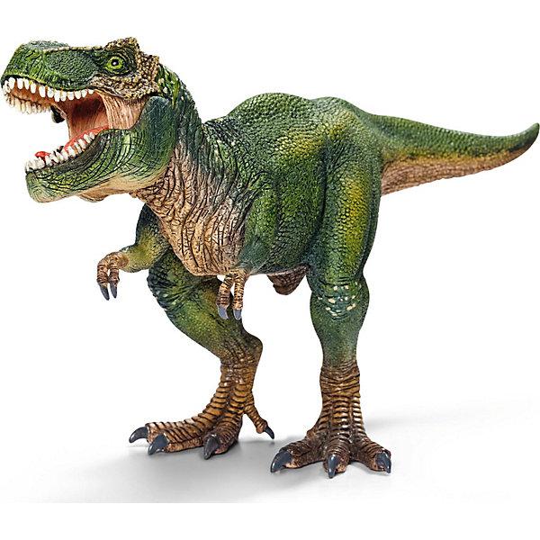 Тиранозавр Рекс, SchleichМир животных<br>Тираннозавр Рекс — самый крупный из всех известных динозавров. <br><br>Благодаря высокой детализации игрушка дает точную информацию о внешнем виде животного. А подвижная нижняя челюсть у этой фигурки динозавра предоставляет еще больше игровых возможностей.<br><br>Тираннозавр Рекс — самый известный ящер-титан. Именно его чаще всего делают героем фильмов про динозавров. И хотя его скорость бега равна человеческой, но от столь искусного хищника не могли защититься даже другие динозавры. Тираннозавр Рекс без труда передвигался на задних лапах, имел самый сильный укус и питался плотью существ, живших в последней четверти мелового периода. А свой огромный и тяжелый хвост он использовал и как средство защиты, и как балансир при перемещении.<br><br>Дополнительная информация:<br><br>- Крупный размер: 28,0 ? 9,5 ? 14,0 см<br>- Высокая степень детализации<br>- Игрушка имеет подвижную нижнюю челюсть!<br>- Материал: каучуковый пластик<br><br>Тираннозавра Рекс, Schleich (Шляйх) можно купить в нашем магазине.<br>Ширина мм: 281; Глубина мм: 124; Высота мм: 101; Вес г: 288; Возраст от месяцев: 36; Возраст до месяцев: 96; Пол: Мужской; Возраст: Детский; SKU: 2445907;