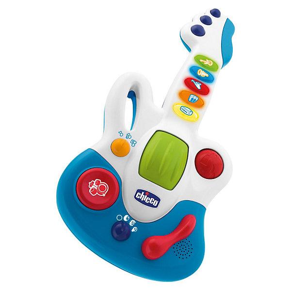 Гитара Маленькая звездочка, ChiccoГитары<br>Гитара Маленькая звездочка Chicco (Чико) - яркая и красивая музыкальная электронная игрушка для вашего ребенка! <br> <br>Гитара Маленькая звездочка позволяет ребенку создавать свои музыкальные аранжировки: к 23 записанным мелодиям, которые выступают за основу, можно добавить звучание ударных инструментов, вибрацию и ускорение ритма музыки.  <br><br>Гитара воспроизводит музыку в 3х музыкальных жанрах (рок, поп и блюз). Малыш выбирает различные музыкальные жанры, и мелодия начинает звучать по-новому.<br><br>Есть 3 функции игры:  5 коротких мелодий,  15 мелодий в трех музыкальных жанрах, мелодии с животными. Также можно выбрать между 3 методами игры (короткие мелодии, записанные мелодии и повторяй за мной). Записанные мелодии можно улучшить с помощью 3 различных функций микшера: роллер, барабанная установка и ускорение ритма. <br><br>Такая Гитара никого не оставит равнодушным! Игрушка развивает музыкальный вкус и творческие способности Вашего ребенка.<br><br>Гитару Маленькая звездочка Chicco можно купить в нашем интернет-магазине.<br><br>Дополнительная информация:<br>- 23 мелодии.<br>- 3 функции микшера.<br>- Материал: пластмасса.<br>- Работает от батареек: 2 х LR6 (AA) <br>- Размеры: 40х20 см.<br>- Возраст: от 12 месяцев.<br><br>Ширина мм: 400<br>Глубина мм: 250<br>Высота мм: 70<br>Вес г: 79<br>Возраст от месяцев: 12<br>Возраст до месяцев: 36<br>Пол: Унисекс<br>Возраст: Детский<br>SKU: 2450429