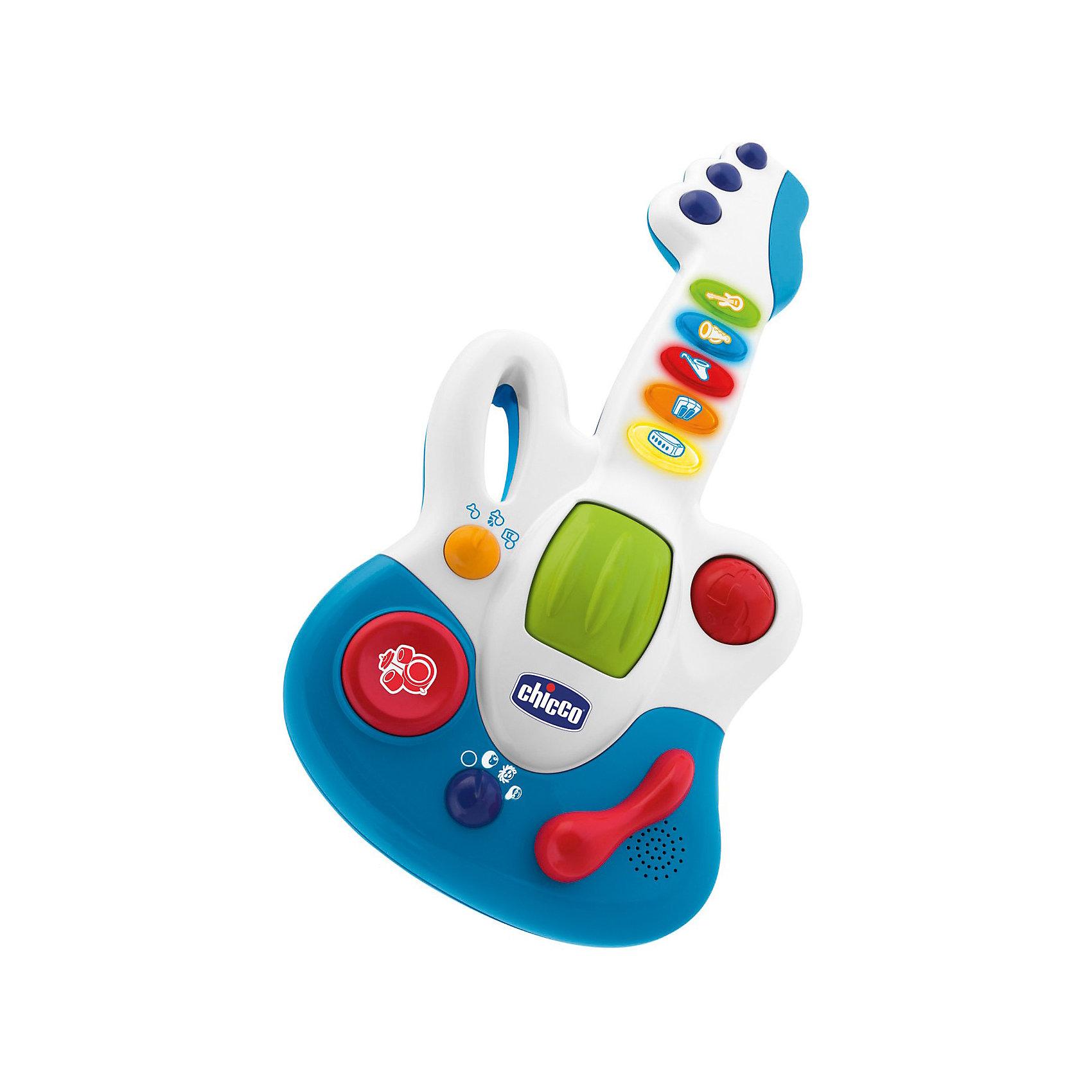 Гитара Маленькая звездочка, ChiccoМузыкальные инструменты и игрушки<br>Гитара Маленькая звездочка Chicco (Чико) - яркая и красивая музыкальная электронная игрушка для вашего ребенка! <br> <br>Гитара Маленькая звездочка позволяет ребенку создавать свои музыкальные аранжировки: к 23 записанным мелодиям, которые выступают за основу, можно добавить звучание ударных инструментов, вибрацию и ускорение ритма музыки.  <br><br>Гитара воспроизводит музыку в 3х музыкальных жанрах (рок, поп и блюз). Малыш выбирает различные музыкальные жанры, и мелодия начинает звучать по-новому.<br><br>Есть 3 функции игры:  5 коротких мелодий,  15 мелодий в трех музыкальных жанрах, мелодии с животными. Также можно выбрать между 3 методами игры (короткие мелодии, записанные мелодии и повторяй за мной). Записанные мелодии можно улучшить с помощью 3 различных функций микшера: роллер, барабанная установка и ускорение ритма. <br><br>Такая Гитара никого не оставит равнодушным! Игрушка развивает музыкальный вкус и творческие способности Вашего ребенка.<br><br>Гитару Маленькая звездочка Chicco можно купить в нашем интернет-магазине.<br><br>Дополнительная информация:<br>- 23 мелодии.<br>- 3 функции микшера.<br>- Материал: пластмасса.<br>- Работает от батареек: 2 х LR6 (AA) <br>- Размеры: 40х20 см.<br>- Возраст: от 12 месяцев.<br><br>Ширина мм: 400<br>Глубина мм: 250<br>Высота мм: 70<br>Вес г: 79<br>Возраст от месяцев: 12<br>Возраст до месяцев: 36<br>Пол: Унисекс<br>Возраст: Детский<br>SKU: 2450429