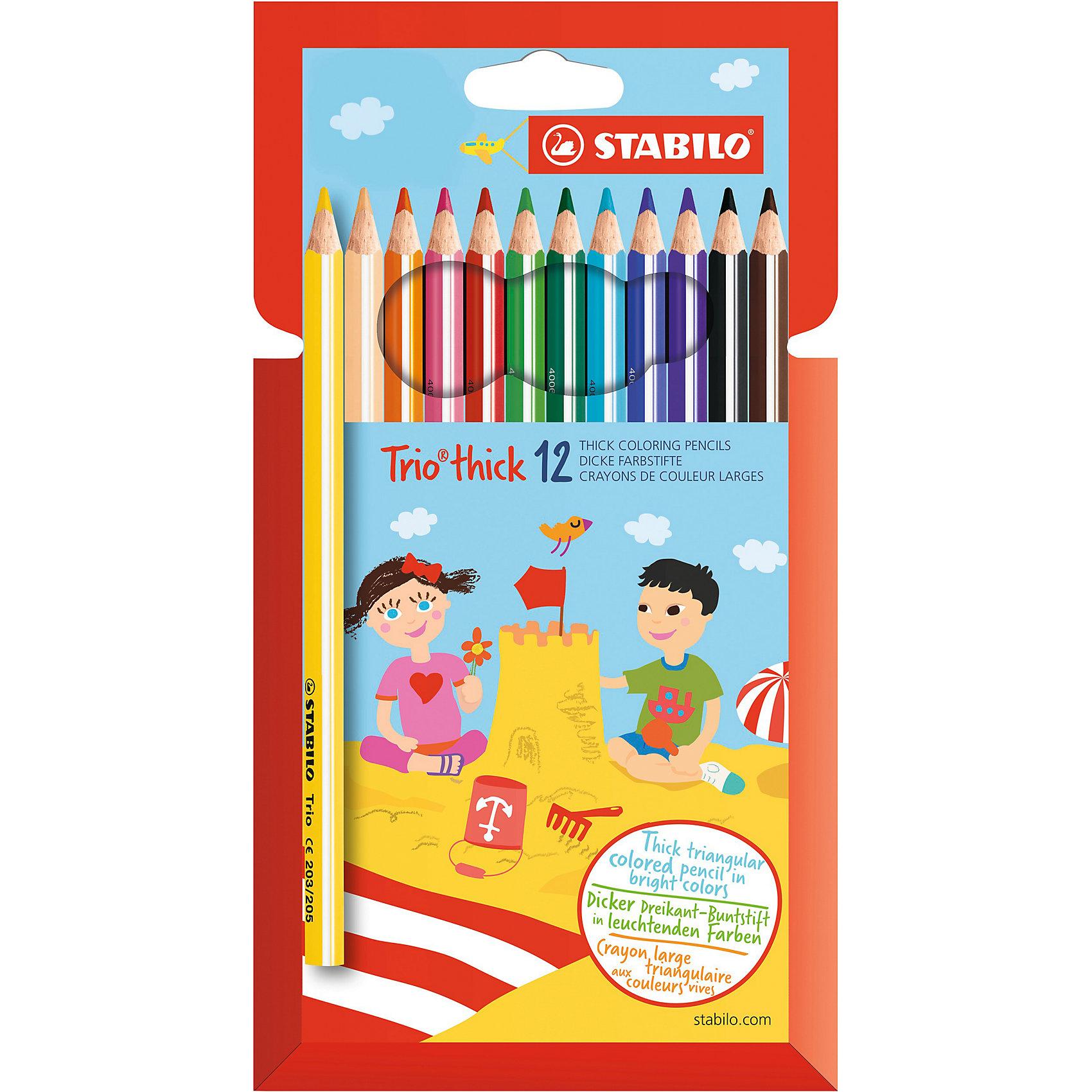 Набор цветных карандашей, 12 цв., TrioНабор цветных карандашей, 12 цв., Trio от марки Stabilo<br><br>Эти карандаши созданы немецкой компанией для комфортного и легкого рисования. Легко затачиваются, при этом грифель очень устойчив к поломкам. Цвета яркие, линия мягкая и однородная. Будут долго держаться на бумаге и не выцветать. Рисование помогает детям развивать усидчивость, воображение, образное восприятие мира, а также мелкую моторику рук.  <br>Грифель - из высококачественного материала. В наборе - 12 карандашей разных цветов. Они отлично лежат в руке благодаря удобной форме и качественному покрытию.<br><br>Особенности данной модели:<br><br>комплектация: 12 шт.<br><br>Набор цветных карандашей, 12 цв., Trio от марки Stabilo можно купить в нашем магазине.<br><br>Ширина мм: 216<br>Глубина мм: 124<br>Высота мм: 12<br>Вес г: 112<br>Возраст от месяцев: 36<br>Возраст до месяцев: 96<br>Пол: Унисекс<br>Возраст: Детский<br>SKU: 2452905