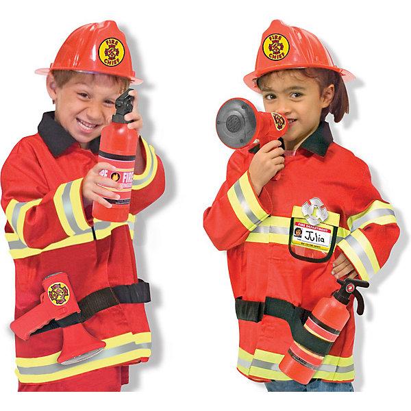 Карнавальный костюм Пожарный, Melissa &amp; DougКарнавальные костюмы для мальчиков<br>Все мальчики хотят вырасти сильными и мужественными! Подарите Вашему мальчику карнавальный костюм Пожарный, Melissa &amp; Doug и счастью не будет предела. Костюм продуман до мелочей: куртка со светоотражателем, каска спасателя и множество тематических аксессуаров! Пожарный всегда придет на помощь и спасет попавших в беду. Прививайте своему мальчику лучшие качества даже во время игр.  Карнавальный костюм Пожарный прекрасно подойдет  для мальчика 4-6 лет. Он будет хитом утренника в саду, новогодней вечеринки и забавной фотосессии. Подарите ребенку часы безграничной фантазии в костюме Пожарный, Melissa &amp; Doug!<br><br>Дополнительная информация:<br><br>- Карнавальный костюм для мальчика;<br>- В комплекте: куртка, шлем, огнетушитель, значок, рупор, издающий звуки, бейджик;<br>- Материал: 100% полиэстер, нетоксичный пластик;<br>- Размер куртки: ширина - 42 см, длина - 51 см, длина рукава - 34 см<br>- Отлично подойдет для праздников, карнавалов, вечеринок;<br>- Необычный костюм;<br>- Красочный дизайн;<br>- Размер упаковки: 43 х 1 х 56 см;<br>- Вес: 770 г<br><br>Карнавальный костюм Пожарный, Melissa &amp; Doug  можно купить в нашем интернет-магазине.<br><br>Ширина мм: 600<br>Глубина мм: 100<br>Высота мм: 430<br>Вес г: 770<br>Возраст от месяцев: 36<br>Возраст до месяцев: 60<br>Пол: Мужской<br>Возраст: Детский<br>SKU: 2453178