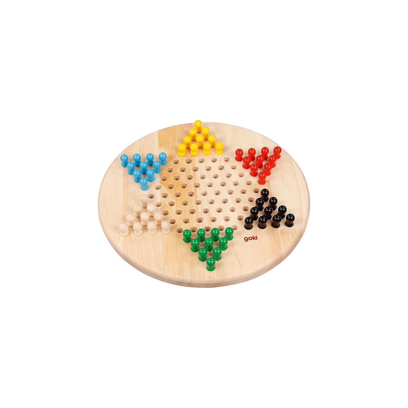 Игра Китайские шашки, gokiИнтересная стратегическая игра, в которую могут играть от 2-х до 6-ти человек.<br><br>Целью игры является первым поставить свои 10 фигур на другую сторону доски.<br><br>Каждый игрок выбирает цвет своих фигур и устанавливает их в предназначенное для него острие звезды. Начинает самый молодой игрок и одной из своих фигур из второго ряда перепрыгивает любую фигуру из первого ряда.<br><br>Всегда ходят только своей фигурой. Фигура ставится на свободное поле, которое находится прямо возле нее. При этом разрешается ставить вперед, вбок или назад.<br>Другие фигуры, также и других игроков, разрешается перепрыгивать, если расположенное за нею место свободно.<br><br>Во время хода можно перепрыгивать многие другие фигуры, а также после прыжка менять направление. Также во время хода возможно с одного острия звезды поставить в другое.<br>Как только фигура достигла расположенного напротив острия звезды, ей не разрешается больше покидать острие, а только там передвигаться.<br><br>Игрок не может препятствовать выигрышу тем, что его острие звезды занимается чужими фигурами. В этом случае игрок выигрывает и тогда, если оставшиеся поля заняты его собственными фигурами.<br>Если играют менее 6 игроков, разрешается ставить в стоящие пустыми острия звезды.<br>Фигуры не разрешается убирать с доски.<br><br>Дополнительная информация:<br><br>Материал: дерево.<br>Диаметр: 29 см.<br>В комплекте: 1 доска, 60 фигур для игры.<br><br>Ширина мм: 200<br>Глубина мм: 50<br>Высота мм: 40<br>Вес г: 1500<br>Возраст от месяцев: 72<br>Возраст до месяцев: 1188<br>Пол: Унисекс<br>Возраст: Детский<br>SKU: 2456952