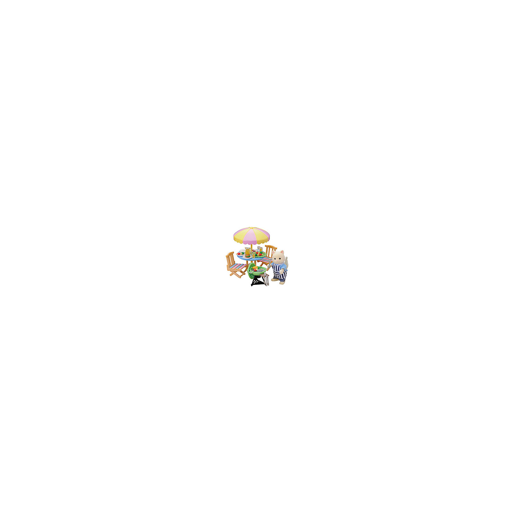 Набор Барбекю Sylvanian FamiliesSylvanian Families (Сильваниан Фэмилиес) набор Барбекю - отличный игровой набор, который обязательно порадует вашего ребенка.<br><br>В набор входят: кот из Сильвании, стол с зонтиком, 2 стула, печь-барбекю, набор посуды, фартук и продукты.<br><br>У всех животных  из Сильвании подвижные ручки и приспособлены для держания различных маленьких предметов, которые можно найти в многочисленных наборах от Sylvanian Families. <br>В комплекте:<br><br>фигурка кота в фартучке (8 см)<br>два садовых стула<br>садовый столик с зонтиком<br>мангал для барбекю с решеткой и дровами<br>щипцы для углей<br>лопаточка для переворачивания мяса<br>4 канап<br>рыба и мясо<br>кувшин<br>4 стакана<br>поднос<br><br>Дополнительная информация:<br><br>Материал: пластмасса, текстиль. <br><br>Этот набор обязательно порадует Вашего ребёнка, ведь теперь он сможет разыгрывать сценки из собственной жизни!<br>Набор способствует развитию фантазии и навыков общения.<br><br>Ширина мм: 204<br>Глубина мм: 175<br>Высота мм: 60<br>Вес г: 175<br>Возраст от месяцев: 36<br>Возраст до месяцев: 72<br>Пол: Женский<br>Возраст: Детский<br>SKU: 2458885