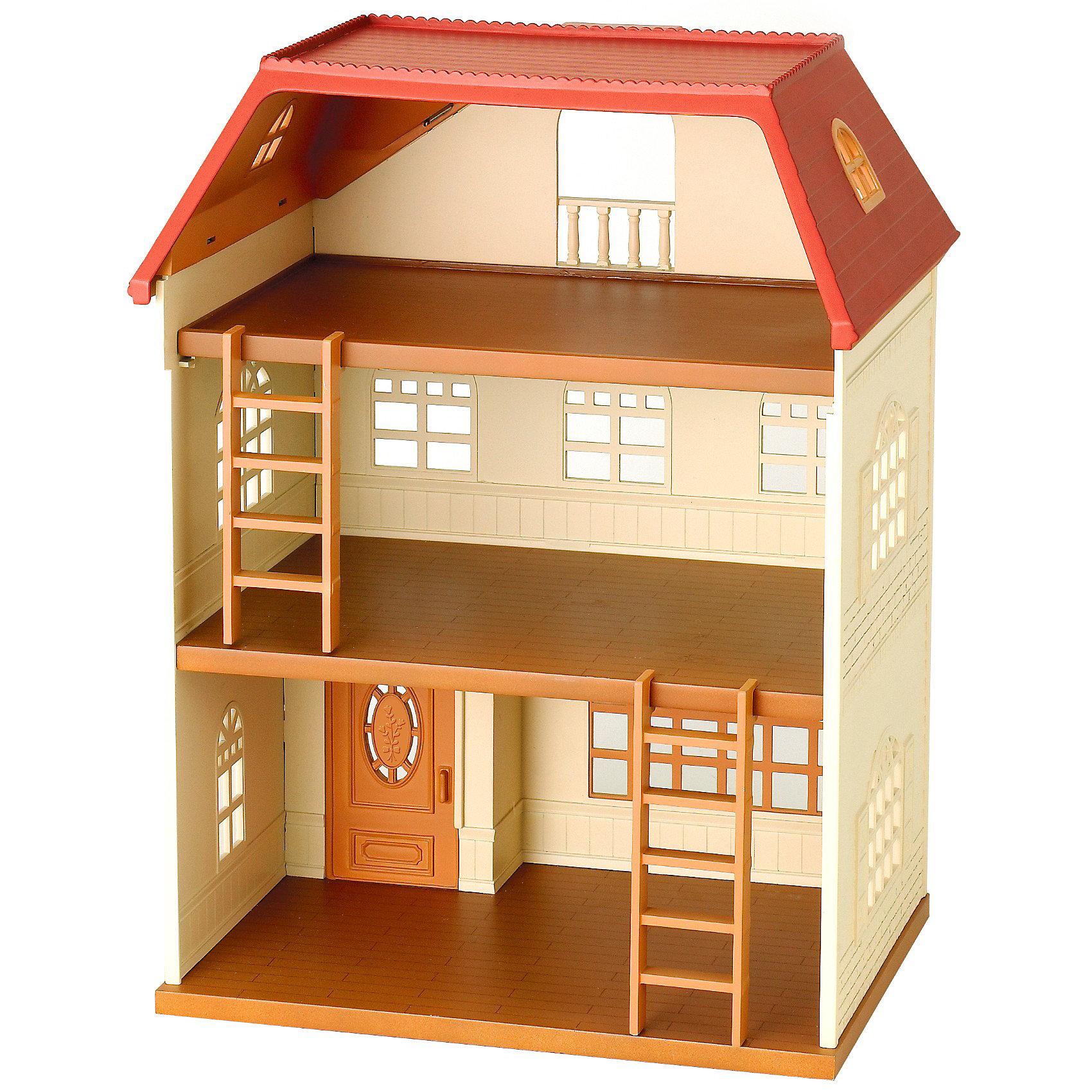 Набор Трехэтажный дом Sylvanian FamiliesSylvanian Families<br>Трехэтажный дом для семей от Sylvanian Families. <br><br>Большой и просторный дом, который можно достраивать и перестраивать по своему желанию. <br><br>В этом домике большие полукруглые окна и есть две лестницы, которые соединяют этажи. У дома нет задней стенки, поэтому с ним удобно играть. Пол между вторым и третьим этажом вынимается и может быть использован как стоянка для автомобиля. <br><br>Если зверюшки не помещаются в трехэтажный дом, то его можно расширить домом со светом или поставить на ресторан Гамбургер. Так появится целый жилой квартал с уютными домиками и вкусными кафе. Места хватит всем!<br><br>Дополнительная информация:<br><br><br>- В комплекте: трехэтажный дом с двумя лестницами, двухсторонний дворик. Внимание, зверюшки и мебель в комплект не входят!<br>- Размер дома: 29х21х38 см. <br>- Размер упаковки: 41x33x25 см.<br>- Вес: 1,5 кг<br>- Материал: пластмасса.<br><br>Набор Трехэтажный дом Sylvanian Families можно купить в нашем магазине.<br><br>Ширина мм: 412<br>Глубина мм: 335<br>Высота мм: 253<br>Вес г: 1782<br>Возраст от месяцев: 36<br>Возраст до месяцев: 72<br>Пол: Женский<br>Возраст: Детский<br>SKU: 2458889