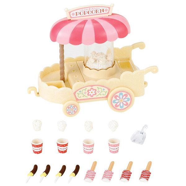 Набор Тележка с попкорном Sylvanian FamiliesSylvanian Families<br>Тележка с попкорном от Sylvanian Families (Сильваниан Фэмилиес).<br><br>Каждое воскресенье семьи в Сильвании совместно гуляют в парках. Пока родители общаются, детишки ищут тележку со сладостями, где продаются попкорн и разнообразные сладости. Родители не могут отказать любимым детишкам, поэтому прогулка обязательно заканчивается покупкой вкусных сладостей. <br><br>В центре тележки прозрачный купол с попкорном, который начинает прыгать во время движения тележки. На прилавок тележки помещаются сладости: попкорн, бананы в шоколаде, палочки с мороженым-эскимо. Тележка подходит к набору Фургон с мороженым. <br><br>Дополнительная информация:<br><br>В комплекте:<br>- тележка (12х10 см)<br>- крюк для тележки<br>- табличка для зонта<br>- 4 горстки попкорна<br>- 4 стаканчика для попкорна<br>- 4 банана в шоколаде<br>- 4 эскимо<br>- лопатка для попкорна<br>- наклейки<br><br>Материал: пластмасса, бумага.<br><br>Ширина мм: 154<br>Глубина мм: 126<br>Высота мм: 78<br>Вес г: 143<br>Возраст от месяцев: 36<br>Возраст до месяцев: 72<br>Пол: Женский<br>Возраст: Детский<br>SKU: 2458892