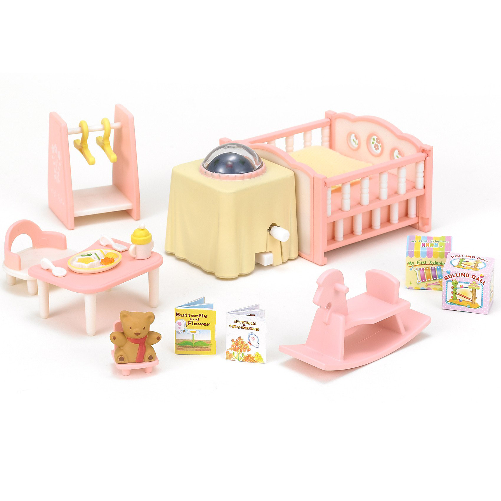 Набор Детская комната Sylvanian FamiliesС набором «Детская комната» от Sylvanian Families (Сильваниан Фамилиес) ребенок сможет сам обустроить детскую для зверюшек-малышей.<br><br>В набор входит все необходимое для малыша: он сидит за столиком, играет с игрушками, может покачаться на лошадке, а вечером мама положит его в кроватку и погасит ночник. <br><br>Дополнительная информация:<br><br>Для работы ночника требуется батарейки 2шт х ААА 1,5 В LR03 (в комплекте нет)<br>В комплекте:<br>- кровать<br>- столик с ночничком<br>- вешалка<br>- качалка<br>- столик и стульчик для малыша<br>- игрушки<br>Размеры кроватки: 8 х 3,5, стол --4 х 2,5 см; стойка для одежды - 3,5 х 5 см<br>Материал: высококачественная пластмасса, текстиль, бумага<br><br>Набор Детская комната Sylvanian Families (Сильваниан Фэмилис) можно купить в нашем магазине.<br><br>Ширина мм: 204<br>Глубина мм: 172<br>Высота мм: 63<br>Вес г: 224<br>Возраст от месяцев: 36<br>Возраст до месяцев: 72<br>Пол: Женский<br>Возраст: Детский<br>SKU: 2458901