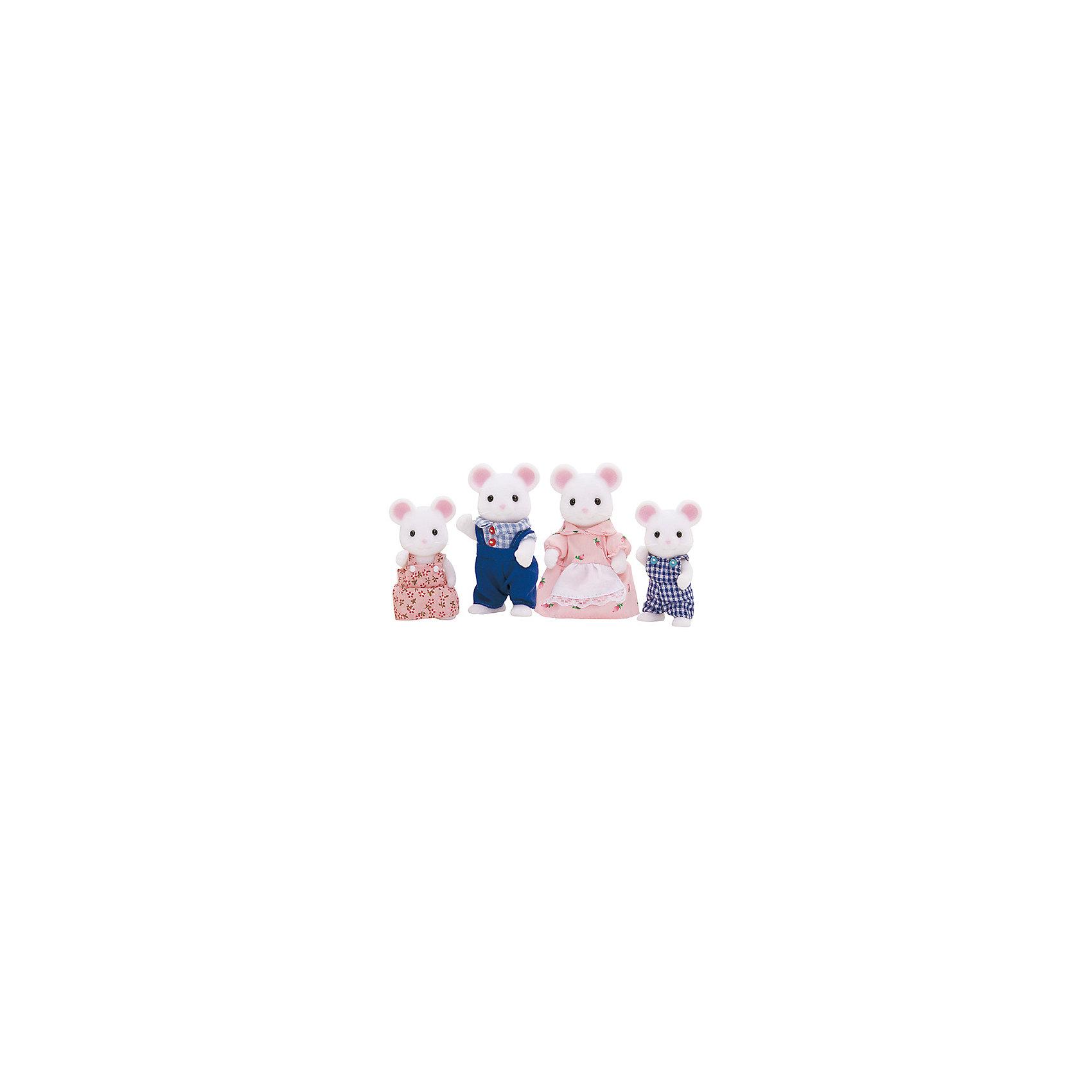Набор Семья Белых Мышей Sylvanian FamiliesSylvanian Families<br>Набор Семья Белых Мышей Sylvanian Families (Сильваниан Фамилиес) состоит из четырех фигурок: мамы, папы, дочки и сына. Мама одета в платьице и белый передник, папа-в клетчатую рубашку и комбинезон. Дочка носит розовый сарафанчик, а сынишка полукомбинезон. <br>И дети, и родители будут очарованы этими милыми игрушками. За счет мягких бархатистых материалов их очень приятно держать  в руках. Голова, ручки и ножки у фигурок двигаются, у мышек есть усы и хвостики.<br><br>Дополнительная информация:<br>Высота фигурок:<br>Родители - 8 см<br>Дети - 6 см<br>Размер упаковки: 5,5 *20 *18 см<br>Материал: текстиль, ПВХ с полимерным наполнением, пластмасса.<br><br>Ширина мм: 203<br>Глубина мм: 169<br>Высота мм: 61<br>Вес г: 137<br>Возраст от месяцев: 36<br>Возраст до месяцев: 72<br>Пол: Женский<br>Возраст: Детский<br>SKU: 2458902