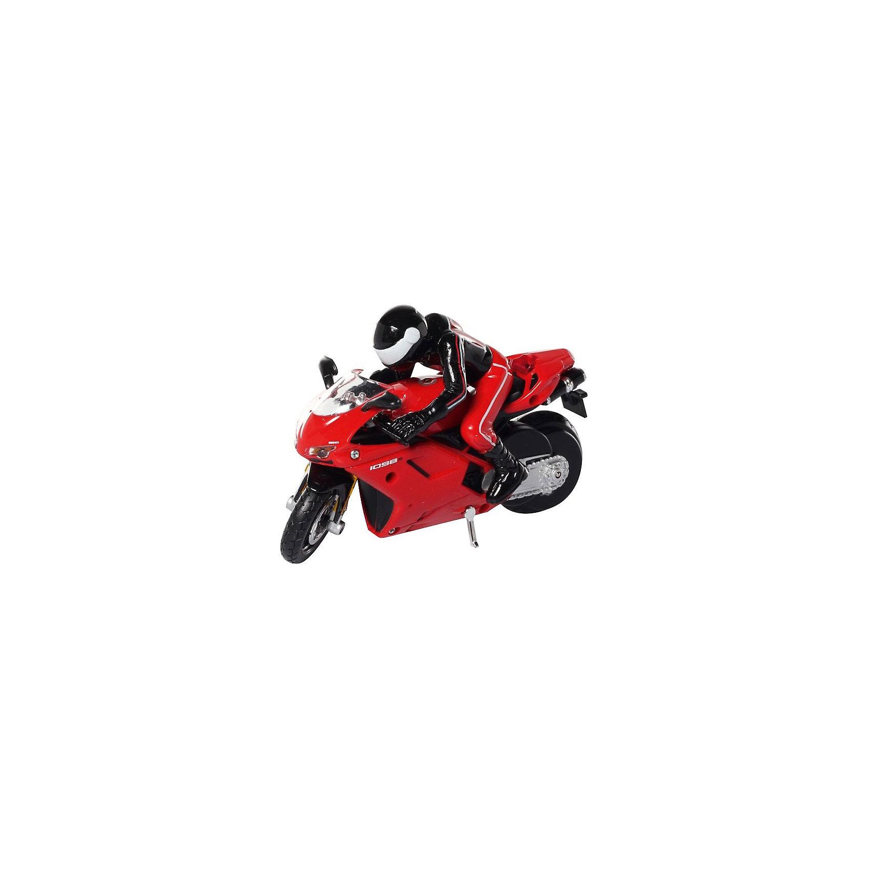 Мотоцикл Ducati 1098S на р/у, MaistoМодель представляет собой потрясающе точно выполненную копию настоящего классического мотоцикла Ducati 1098S. Мотоцикл работает при помощи инфракрасного пульта управления. Увеличение скорости контролируется кнопкой «турбо» на пульте, благодаря встроенному моховику в корпус мотоцикл удерживается в вертикальном положении.<br><br>Дополнительная информация:<br><br>- Управление: радиоуправляемая<br>- Питание: 4 батареи АА (не входят в комплект)<br>- Размеры машинки: 12 см<br>- Материал: пластик, металл<br><br>Мотоцикл Ducati 1098S на р/у, Maisto можно купить в нашем интернет-магазине.<br><br>Ширина мм: 70<br>Глубина мм: 262<br>Высота мм: 185<br>Вес г: 466<br>Возраст от месяцев: 36<br>Возраст до месяцев: 72<br>Пол: Мужской<br>Возраст: Детский<br>SKU: 2462969