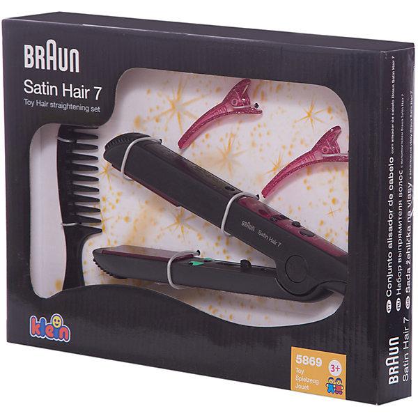 Выпрямитель для волос, BRAUN 5869Салон красоты<br>С  выпрямителем для волос Кляйн (Klein) Ваш ребенок почувствует себя настоящим парикмахером-стилистом. Выпрямитель - точная копия модели стайлера BRAUN SATIN HAIR 7. С помощью игрушки  девочка будет создавать себе и куклам различные прически и укладки. При включении лампочка в игрушке загорается, слышен звук нагревающегося прибора, при этом сама игрушка не нагревается.<br>В наборе также расческа и 2 заколки.<br><br>Дополнительная информация:<br><br>- Игрушка имитирует работу выпрямителя, не нагреваясь<br>- Материал: пластмасса.<br>- Комплект: выпрямитель, расческа, 2 заколки.<br>- Требуются батарейки: 1 x AA/LR6 1.5 V  (не входят в комплект).<br>- Размер упаковки: 27 х 19,5 х 3 см.<br><br>Купить выпрямитель для волос  Klein можно в нашем магазине.<br>Ширина мм: 272; Глубина мм: 198; Высота мм: 35; Вес г: 245; Возраст от месяцев: 36; Возраст до месяцев: 72; Пол: Женский; Возраст: Детский; SKU: 2467404;