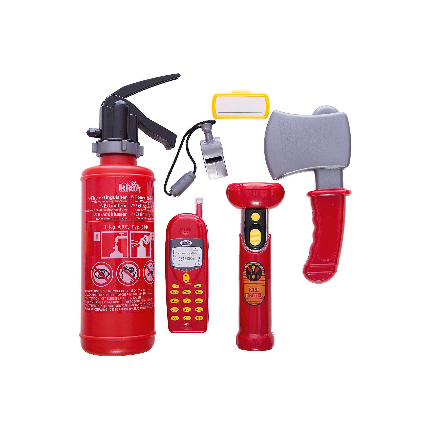 Набор пожарного, KleinМастерская и инструменты<br>Набор пожарного, Klein (Кляйн) поможет ребенку научиться бороться с игрушечным огнем. Нажмите на кнопку рупора - и вы услышите звуки пожарных машин. Огнетушитель способен распылять воду, как настоящий пульверизатор. Главное, не забудьте заполнить его водой. С таким комплектом игрушки всегда будут в безопасности!<br><br>Дополнительная информация:<br>В комплекте: топор, свисток, фонарик со светом, рупор, бейдж, огнетушитель<br>Батарейки: АА - 2шт. и ААА - 3 шт. (В комплект не входят)<br>Вес: 940 грамм<br>Размер упаковки: 32х29х9 см<br><br>Набор пожарного, Klein (Кляйн) можно приобрести в нашем интернет-магазине.<br><br>Ширина мм: 280<br>Глубина мм: 230<br>Высота мм: 100<br>Вес г: 700<br>Возраст от месяцев: 36<br>Возраст до месяцев: 96<br>Пол: Мужской<br>Возраст: Детский<br>SKU: 2467413