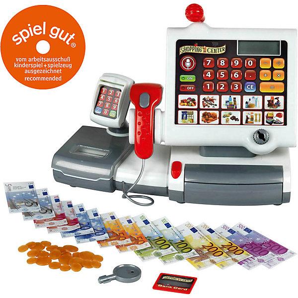Набор Кассовый аппарат, преммум, KleinДетский супермаркет<br>Касса сделана из качественного пластика и в точности повторяет контуры реального аппарата. Главной ее особенностью является сенсорная панель, еще в комплекте имеется устройство считывания карты, сканер продуктов, игрушечные деньги и банковская карта. <br>Порадуйте своего ребенка таким прекрасным набором!<br><br>Дополнительная информация: <br><br>- Возраст: от 3 лет.<br>- Материал: пластик.<br>- Цвет: белый, серый.<br>- В наборе:  касса, аксессуары.<br>- Батарейки не идут в комплекте.<br>- Тип батареек: 3 х АА / LR6 1.5V (пальчиковые).<br>- Размер упаковки:  34х24х14 см.<br><br>Купить набор Кассовый аппарат от Klein, можно в нашем магазине.<br>Ширина мм: 370; Глубина мм: 302; Высота мм: 195; Вес г: 1097; Возраст от месяцев: 36; Возраст до месяцев: 72; Пол: Унисекс; Возраст: Детский; SKU: 2467414;
