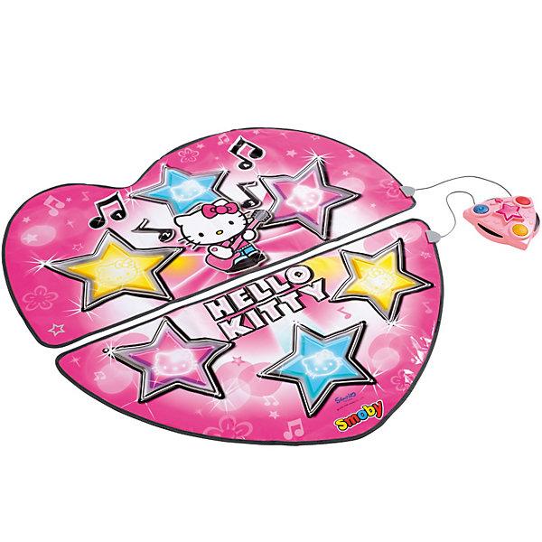 Танцевальный коврик, Hello KittyТанцевальные коврики<br>Танцевальный коврик Hello Kitty, звук на батарейках. Этот замечательный танцевальный коврик выполнен в стиле Hello Kitty (Хелло Кити) - маленькой бело-розовой кошечки, покорившая сердца миллионов людей не только в Японии, но и на всей планете. <br>В комплекте Детского танцевального коврика от Smoby Hello Kitty: 2 игровых коврика, которые соединяются в одни липучкой, управляющий модуль (соединен с ковриками проводами длиной около 30 см), что позволяет танцевать вдвоем одновременно.<br>Два режима игры:<br>- аранжировка (можно выбрать одну из 4-х мелодий коврика, нажав на одну из звездочек на коврике, или, если подключена внешняя аудиосистема, выбрать любимый хит с компакт-диска. Нажимая на кнопки в любой момент, можно добавить звуковые эффекты к мелодии. Аранжированную мелодию можно прослушать в подключенной стереосистеме или записать на аудиокассету);<br>- танцевальный режим (нужно запустить выбранную мелодию и внимательно следить за управляющим модулем. На нем будут загораться огоньки желтого, синего или красного цвета. Задача танцующего: успеть всего за 2 секунды нажать одновременно на оба соответствующих цвета на коврике. После того, как как игра света повторится 20 раз, можно будет услышать оценку своей внимательности и ловкости. Если он правильно и быстро отреагировал не менее 11 раз, то послышатся аплодисменты, а уж если не смог добиться хорошего результата - его освистают).<br><br>Дополнительная информация:<br><br>- 4 мелодии и 11 звуковых эффектов<br>- 2 типа игры<br>- регулятор громкости<br>- соединения:  4 мм разъем (разъем RCA) для подключения внешнего звукового устройства (разъем не входит в комплект)<br>- для работы необходимы батарейки 4 шт. LR 6 батареек (не включены в комплект).<br>- диаметр коврика: 104 см<br><br>Танцевальный коврик, Hello Kitty (Хело Кити) можно купить в нашем магазине.<br><br>Ширина мм: 475<br>Глубина мм: 360<br>Высота мм: 79<br>Вес г: 1123<br>Возраст от месяцев: 36<br>Возраст