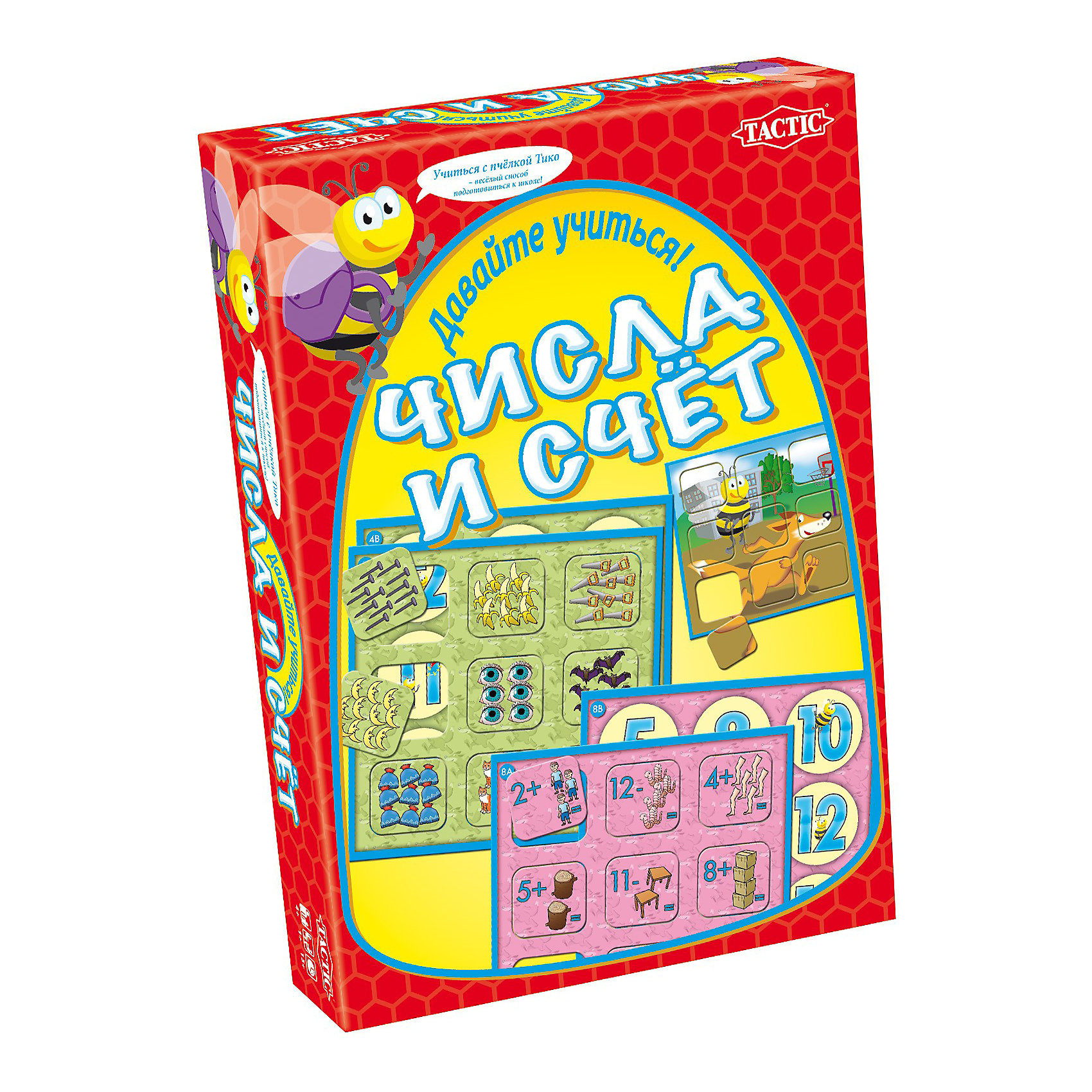 Учим цифры, Tactic GamesИгра «Учим цифры» от прекрасно подойдет для детей, которые хотят освоить цифры и основы счета. В игре представлены 72 карточки с заданиями разной сложности. Есть задания, в которых малыш познакомится с цифрами от 1 до 12, а есть и более сложные задания, в которых нужно использовать простейшие арифметические операции – сложение и вычитание. Суть игры – решать математические задачки для самых маленьких и ставить элементы на игровое поле. Выигрывает игрок, решивший наибольшее количество задачек правильно. Игра научит детей основам счета и основным арифметическим действиям. Ребенок в легкой и доступной форме освоит счет. Кроме того, в процессе игры происходит развитие памяти и внимания, ребенок учится концентрировать свои мысли на главном. Дайте своему малышу возможность выучить цифры играючи!<br><br>Ширина мм: 192<br>Глубина мм: 265<br>Высота мм: 42<br>Вес г: 508<br>Возраст от месяцев: 48<br>Возраст до месяцев: 84<br>Пол: Унисекс<br>Возраст: Детский<br>SKU: 2470679