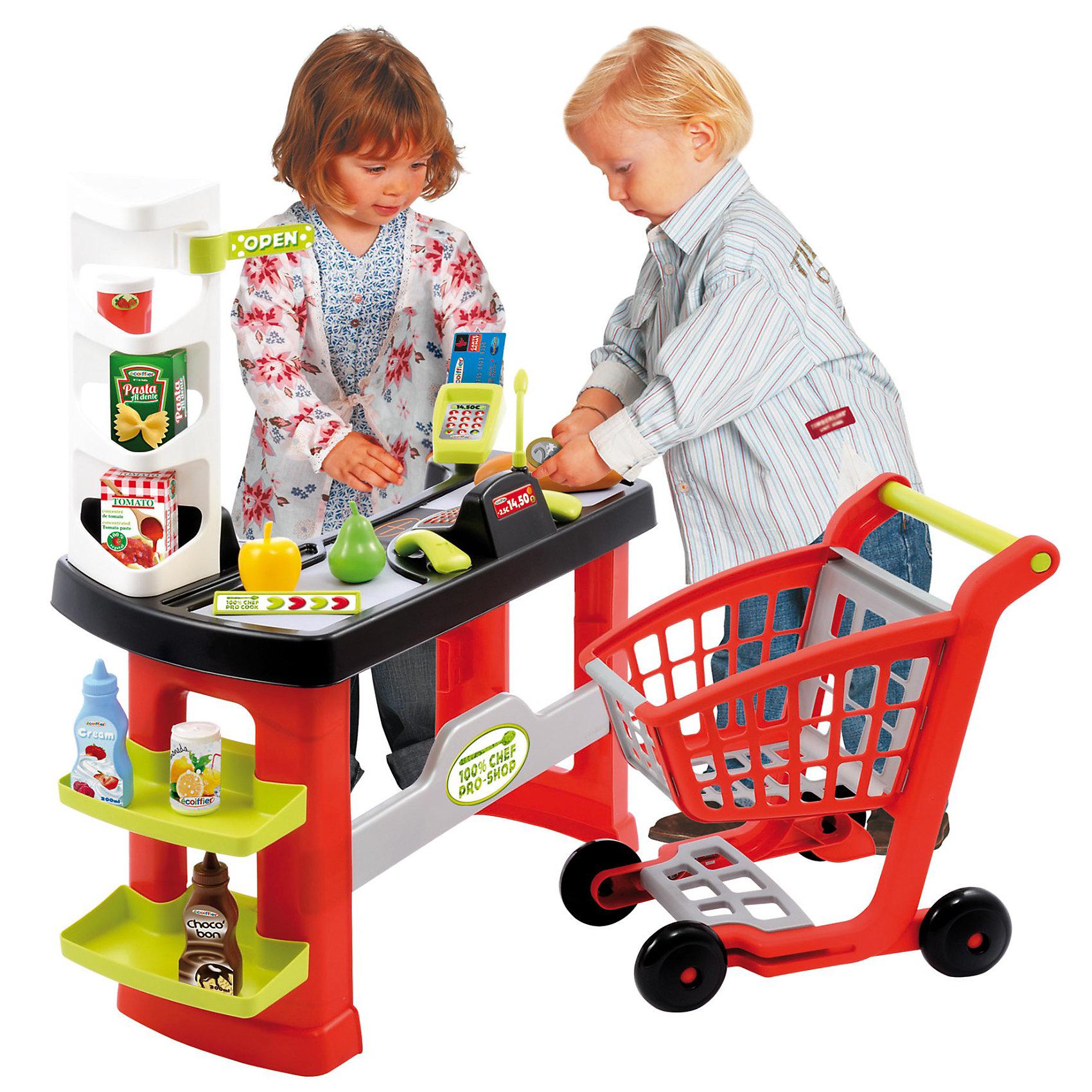Супермаркет с тележкой, EcoiffierДетский супермаркет<br>Этот магазин создан специально для детей. Он включает 20 аксессуаров для наиболее реалистичной игры. Аксессуары включают в себя устройство считывания кредитных карт, ящик для монет, бумажных денег и кредитных карт. В набор также входит корзина для покупок, которая позволяет осуществлять покупки как в настоящем супермаркете.<br><br>Дополнительная информация:<br><br>- В комплекте: кассовая стойка, кассовый терминал, тележка для продуктов, стойка для продуктов, терминал для оплаты картой, игрушечные продукты, электронные весы, сканер штрих-кода, игрушечные деньги, ценники. <br>- Материал: пластик высокого качества<br>- Без электрических функций<br>- Размеры (ДхШхВ): 61 х 34 х 71 см<br><br>Супермаркет с тележкой, Ecoiffier можно купить в нашем магазине.<br><br>Ширина мм: 580<br>Глубина мм: 385<br>Высота мм: 252<br>Вес г: 2461<br>Возраст от месяцев: 36<br>Возраст до месяцев: 60<br>Пол: Унисекс<br>Возраст: Детский<br>SKU: 2471712