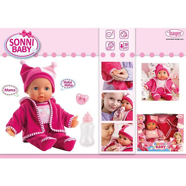 Малышка Сонни 38смБренды кукол<br>Малышка Сонни от Bayer(Байер) - потрясающий интерактивный пупс. Очаровательная кукла умеет посылать воздушные поцелуи, говорить мама, папа, смеяться и плакать. Для этого нужно лишь нажать ей на ручку или животик. Кукла одета в уютный комбинезон и шапочку. Любая девочка по достоинству оценит такой подарок!<br><br>Дополнительная информация:<br>Материал: пластик, текстиль<br>Высота: 38 см<br>Батарейки: LR44 - 3 шт.(входят в комплект)<br><br>Купить Малышку Сонни можно в нашем интернет-магазине.<br><br>Ширина мм: 366<br>Глубина мм: 291<br>Высота мм: 135<br>Вес г: 801<br>Возраст от месяцев: 36<br>Возраст до месяцев: 60<br>Пол: Женский<br>Возраст: Детский<br>SKU: 2477509