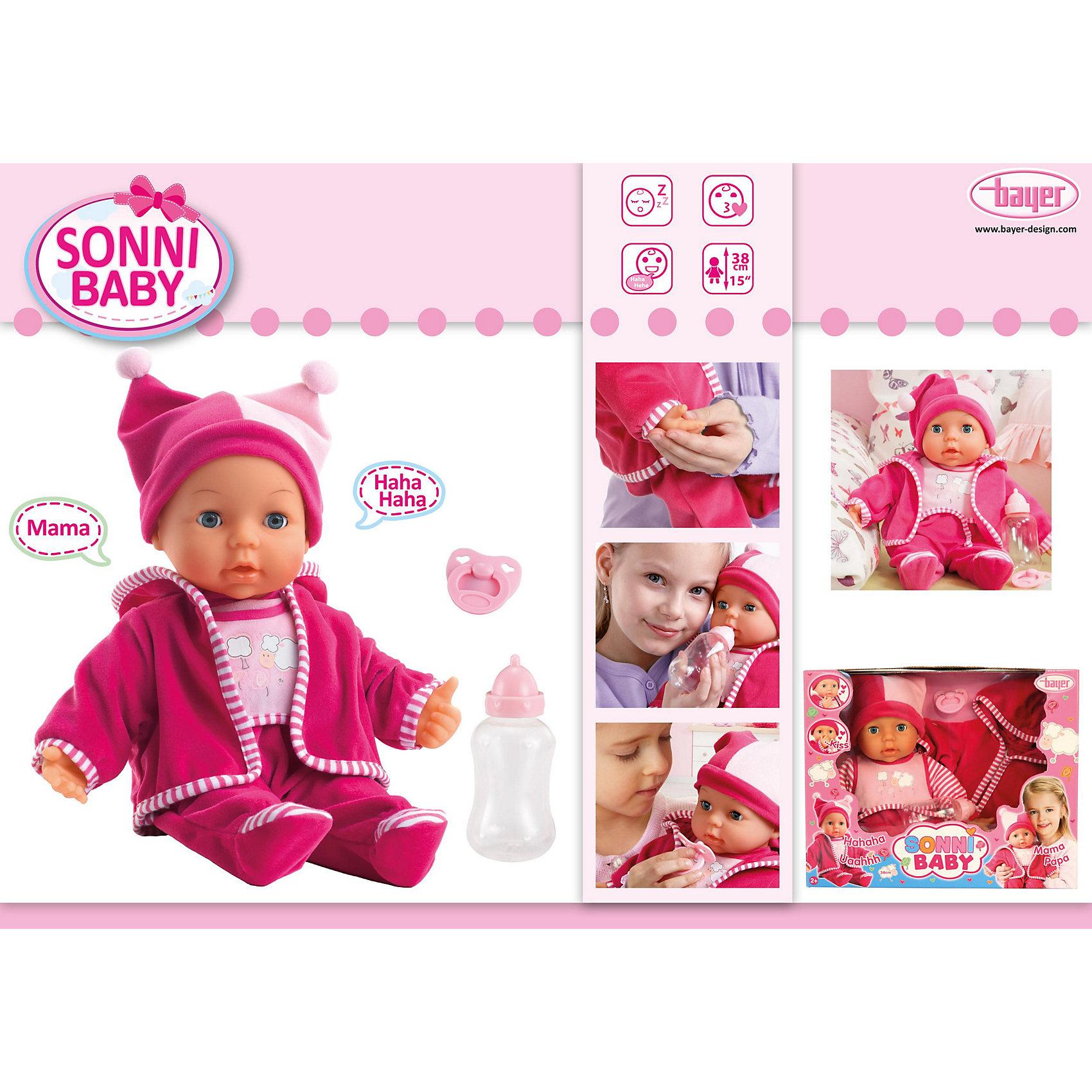 Малышка Сонни 38смМалышка Сонни от Bayer(Байер) - потрясающий интерактивный пупс. Очаровательная кукла умеет посылать воздушные поцелуи, говорить мама, папа, смеяться и плакать. Для этого нужно лишь нажать ей на ручку или животик. Кукла одета в уютный комбинезон и шапочку. Любая девочка по достоинству оценит такой подарок!<br><br>Дополнительная информация:<br>Материал: пластик, текстиль<br>Высота: 38 см<br>Батарейки: LR44 - 3 шт.(входят в комплект)<br><br>Купить Малышку Сонни можно в нашем интернет-магазине.<br><br>Ширина мм: 369<br>Глубина мм: 295<br>Высота мм: 134<br>Вес г: 825<br>Возраст от месяцев: 36<br>Возраст до месяцев: 60<br>Пол: Женский<br>Возраст: Детский<br>SKU: 2477509