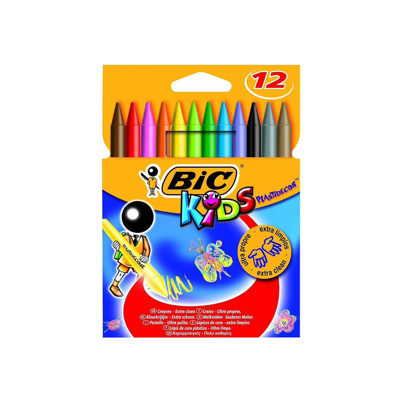 BIC Мелки цветные восковые Пластидекор 12 цветовПрочные пластиковые мелки. Яркие классические цвета. Не пачкает руки. Можно затачивать и стирать как карандаш. Хорошо закрашивает.<br><br>Ширина мм: 10<br>Глубина мм: 112<br>Высота мм: 156<br>Вес г: 91<br>Возраст от месяцев: 24<br>Возраст до месяцев: 1164<br>Пол: Унисекс<br>Возраст: Детский<br>SKU: 2480665