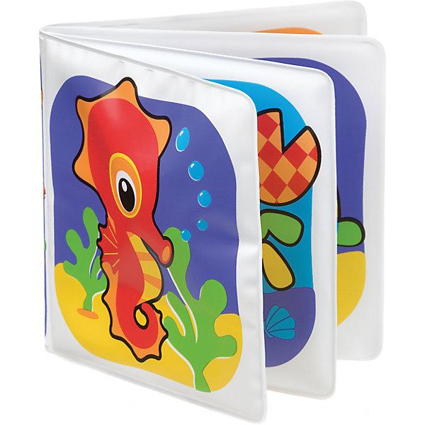 Игрушка для ванны Playgro Книжка-разбрызгивательРазвивающие игрушки<br>Характеристики:<br><br>• возраст: от 6 месяцев<br>• количество страниц: 8<br>• материал: ПВХ<br>• размер упаковки: 19х14х2,5 см.<br><br>Книжка с непромокаемыми страницами отлично развлечет малыша во время водных процедур.<br>Книжка изготовлена из водонепроницаемого материала и имеет восемь страниц с яркими картинками, изображающими морских животных. Внутри одной из страничек находится пищалка, которая развеселит малыша забавными звуками.<br>Книжка способствует развитию мелкой моторики, координации, осознанию причинно-следственных связей.<br><br>Игрушку-книжку, Playgro (Плейгро) можно купить в нашем интернет-магазине.<br>Ширина мм: 194; Глубина мм: 156; Высота мм: 27; Вес г: 39; Возраст от месяцев: 6; Возраст до месяцев: 2147483647; Пол: Унисекс; Возраст: Детский; SKU: 2487065;