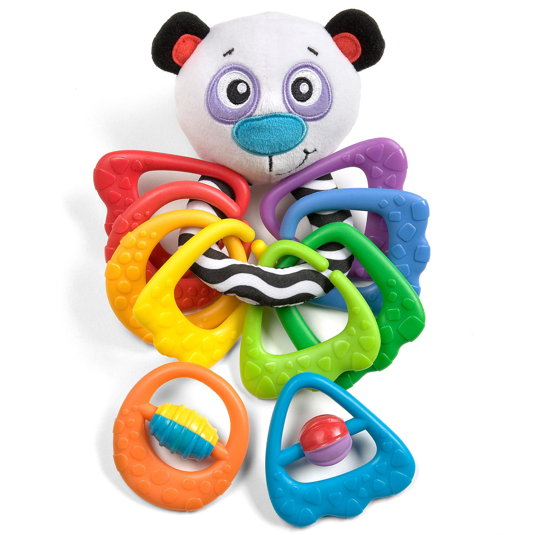 Игрушка-прорезыватель Панда PlaygroИгрушка-прорезыватель Панда Playgro (Плейгро) - яркая и необычная игрушка 2 в 1!<br><br>Перед вами целый игровой набор, который сочетает в себе элементы из разных материалов:<br><br>Панда выполнена из текстильных материалов различной фактуры. В голове симпатичной пандочки находится погремушка. А Вашему малышу будет удобно держать ее за специальное полосатое колечко, прикрепленное к голове.<br><br>10 разноцветных рельефных колечек-прорезывателей прикреплены к игрушке. Восемь незамкнутых колечек можно отсоединять и крепить друг к другу в любой последовательности. А два замкнутых колечка-прорезывателя имеют вращающиеся элементы в центре.<br><br>Игрушка способствует развитию моторики, координации, тактильных ощущений.<br><br>Игрушку-прорезыватель Панда Playgro можно купить в нашем интернет-магазине.<br><br>Ширина мм: 190<br>Глубина мм: 80<br>Высота мм: 288<br>Вес г: 400<br>Возраст от месяцев: 0<br>Возраст до месяцев: 36<br>Пол: Унисекс<br>Возраст: Детский<br>SKU: 2487982