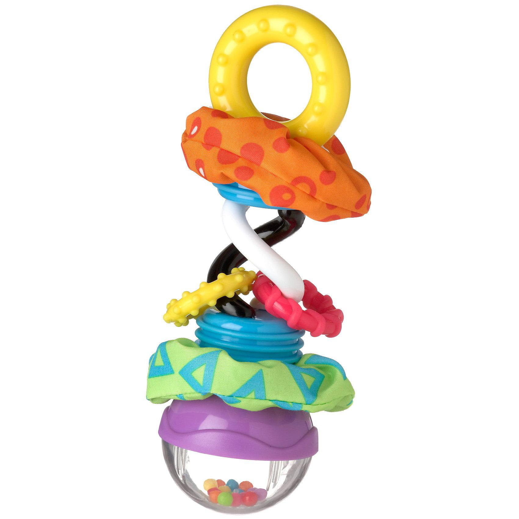 Игрушка-погремушка с прорезывателем PlaygroПрорезыватели<br>Игрушка-погремушка с прорезывателем Playgro (Плейгро) сочетает в себе большое количество ярких элементов с различными функциональными возможностями!<br><br>В верхней части, под прозрачным куполом находятся разноцветные шарики, которые весело гремят и скачут, стоит только потрясти погремушкой. Эффект усиливает зеркальная поверхность, на которой они находятся.<br><br>Две контрастные спирали (черная и белая) способствуют развитию фокусировки глаз малыша. На спиралях расположены два  пластиковых кольца-прорезывателя  с рифленой поверхностью.<br><br>Также на игрушке-погремушке расположены две вставки из текстильных материалов с шуршащим наполнителем.<br><br>Пластиковое колечко внизу погремушки разработано с учетом маленьких ручек ребенка, чтобы ему было удобно держать игрушку или трясти ее.<br><br>Игрушку-погремушку с прорезывателем Playgro можно купить в нашем интернет-магазине.<br><br>Ширина мм: 109<br>Глубина мм: 60<br>Высота мм: 182<br>Вес г: 200<br>Возраст от месяцев: 0<br>Возраст до месяцев: 36<br>Пол: Унисекс<br>Возраст: Детский<br>SKU: 2487983
