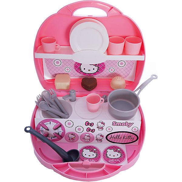 Мини-кухня в чемоданчике Hello Kitty, 25,5*22,5*10 см, SmobyДетские кухни<br>Мини-кухня в чемоданчике Hello Kitty, 25,5*22,5*10 см, Smoby (Смоби) – это переносной вариант игрушечной кухни.<br>Мини-кухня в чемоданчике Hello Kitty от Smoby (Смоби) - это настоящая находка для юной хозяйки, ведь в наборе есть все необходимое для приготовления вкусного завтрака или обеда для любимых игрушек! Миниатюрную кухню можно взять с собой на улицу или в путешествие. Все предметы помещаются в компактный чемодан с удобной ручкой. Несмотря на размеры, в кухни есть все, что и в настоящей. Если открыть чемоданчик, то Вы увидите две половинки: вертикальную и горизонтальную. Вертикальная поверхность разделена на две полочки, на которых может поместиться часть посуды и продукты. Горизонтальная часть состоит из плиты (одна конфорка), раковины с краном, сушилки для посуды. Набор выполнен в розовом цвете и декорирован изображениями любимой кошечки. Изготовлен из высококачественного безопасного пластика.<br><br>Дополнительная информация:<br><br>- В комплекте предусмотрены аксессуары: две вилочки, две ложки, два ножа, две тарелки, две чашки, два стакана, половник, кастрюлька, три пирожных, тематические наклейки<br>- Размер чемоданчика: 22,5 х 10 х 22,5 см.<br>- Материал: пластик<br>- Вес: 450 гр.<br><br>Мини-кухня в чемоданчике Hello Kitty, 25,5*22,5*10 см, Smoby (Смоби) можно купить в нашем интернет-магазине.<br><br>Ширина мм: 254<br>Глубина мм: 225<br>Высота мм: 102<br>Вес г: 531<br>Возраст от месяцев: 36<br>Возраст до месяцев: 72<br>Пол: Женский<br>Возраст: Детский<br>SKU: 2488841