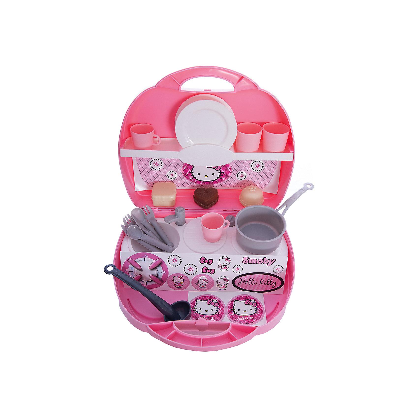 Smoby Мини-кухня в чемоданчике Hello Kitty, 25,5*22,5*10 см, Smoby кухня игрушечная smoby smoby детская кухня для девочек minnie мини
