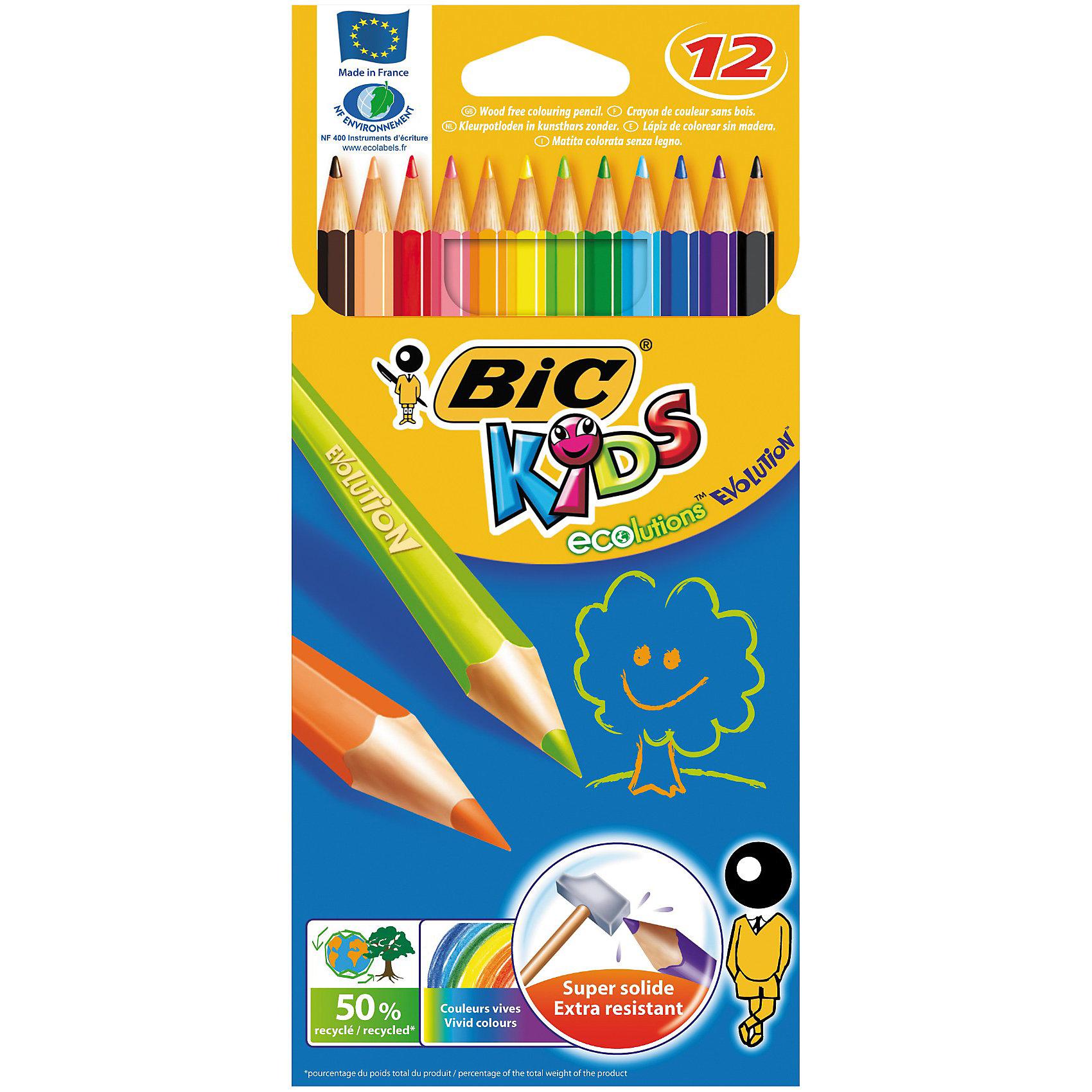 BIC Карандаши цветные  Эволюшен 12 цветовПисьменные принадлежности<br>Пластиковые цветные карандаши. Яркие цвета. Прочный стержень, устойчивый к ударам и падениям. Карандаш безопасен для детей - не расщепляется при механическом воздействии и не образует острых краев при изломе.<br><br>Ширина мм: 10<br>Глубина мм: 100<br>Высота мм: 212<br>Вес г: 62<br>Возраст от месяцев: 36<br>Возраст до месяцев: 1188<br>Пол: Унисекс<br>Возраст: Детский<br>SKU: 2493059