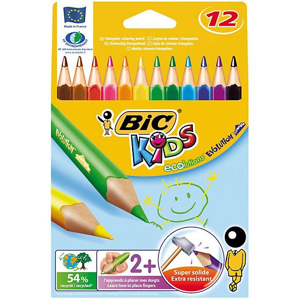 BIC Карандаши цветные  Эволюшен Триэнжел 12 цветовКарандаши для творчества<br>BIC Карандаши цветные  Эволюшен Триэнжел 12 цветов - яркие пластиковые цветные карандаши удобной треугольной формы. <br><br><br>Прочный стержень, устойчивый к ударам и падениям. <br><br>Карандаш безопасен для детей - не расщепляется при механическом воздействии и не образует острых краев при изломе.<br><br>Яркие цвета!<br><br>Ширина мм: 10<br>Глубина мм: 130<br>Высота мм: 185<br>Вес г: 62<br>Возраст от месяцев: 36<br>Возраст до месяцев: 1188<br>Пол: Унисекс<br>Возраст: Детский<br>SKU: 2493061