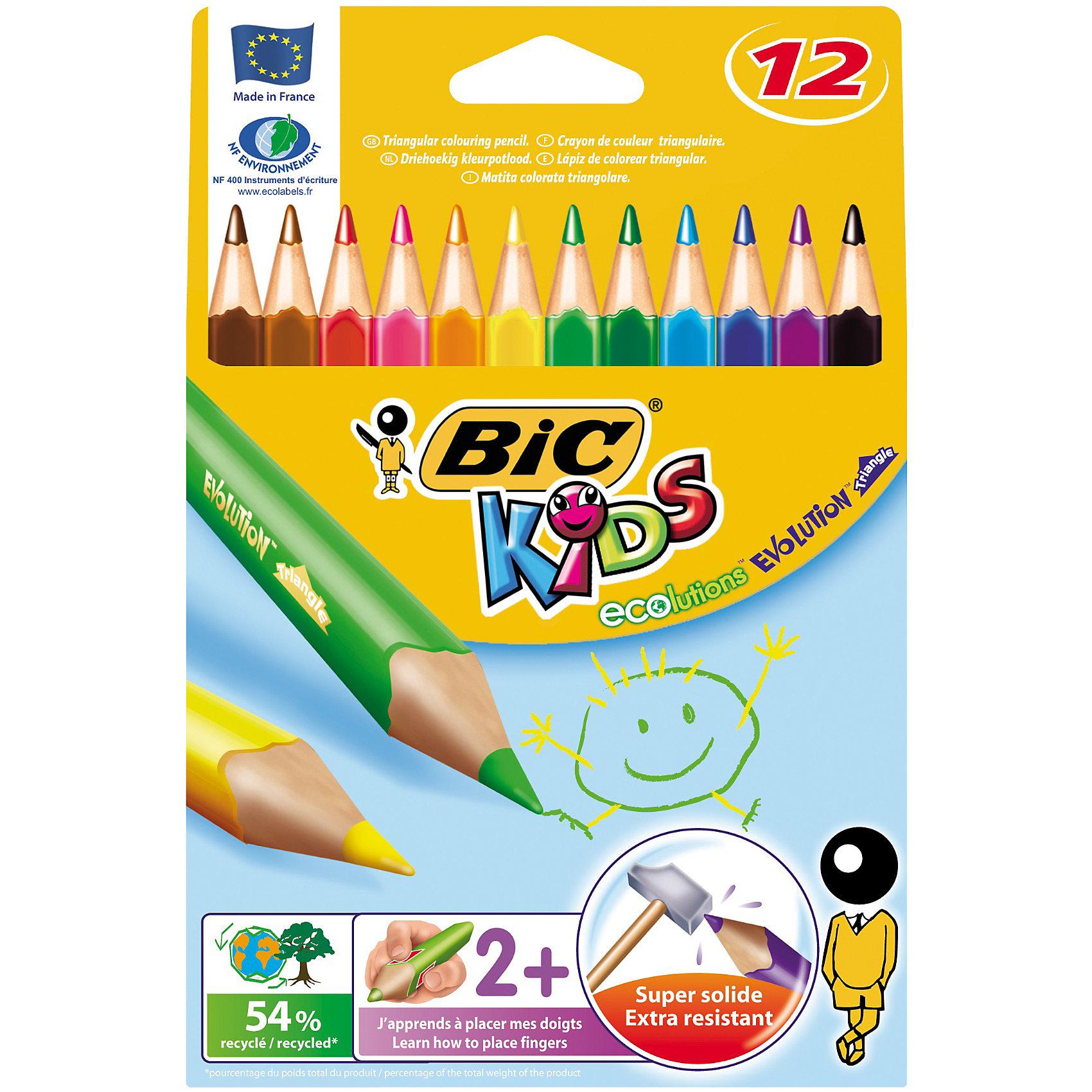 BIC Карандаши цветные  Эволюшен Триэнжел 12 цветовРисование<br>BIC Карандаши цветные  Эволюшен Триэнжел 12 цветов - яркие пластиковые цветные карандаши удобной треугольной формы. <br><br><br>Прочный стержень, устойчивый к ударам и падениям. <br><br>Карандаш безопасен для детей - не расщепляется при механическом воздействии и не образует острых краев при изломе.<br><br>Яркие цвета!<br><br>Ширина мм: 10<br>Глубина мм: 130<br>Высота мм: 185<br>Вес г: 62<br>Возраст от месяцев: 36<br>Возраст до месяцев: 1188<br>Пол: Унисекс<br>Возраст: Детский<br>SKU: 2493061