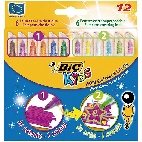 BIC Цветные фломастеры Мини Рисуй и Твори, 6+6 цветовФломастеры<br>Миниатюрные цветные фломастеры. В набор входят 6 фломастеров классических цветов и 6 фломастеров со специальными чернилами для создания креативныхцветов. Конический блокированный пишущий узел. Чернила смываются с большинства тканей. Вентилируемый колпачок.<br>Ширина мм: 10; Глубина мм: 122; Высота мм: 127; Вес г: 84; Возраст от месяцев: 36; Возраст до месяцев: 1188; Пол: Унисекс; Возраст: Детский; SKU: 2493063;