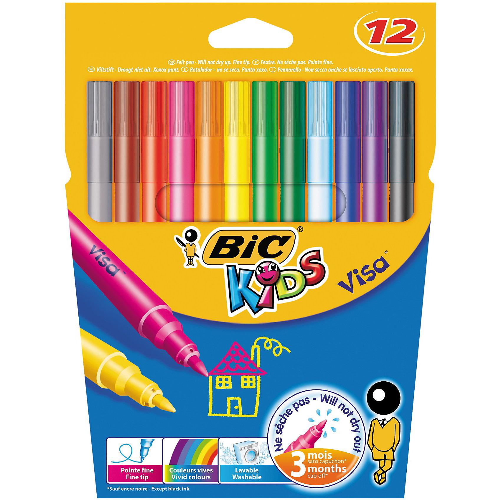 BIC Цветные фломастеры  Виза 880 12 цветовРисование<br>Цветные фломастеры. 12 ярких цветов в наборе. Чернила легко смываются с одежды. Прочный пишущий узел. Тонкая линия письма. Не высыхает. Вентилируемый колпачок.<br><br>Ширина мм: 10<br>Глубина мм: 145<br>Высота мм: 192<br>Вес г: 84<br>Возраст от месяцев: 36<br>Возраст до месяцев: 1188<br>Пол: Унисекс<br>Возраст: Детский<br>SKU: 2493064