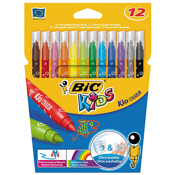 BIC Цветные фломастеры Колор 750 12 цветовФломастеры<br>Детские фломастеры в экологичной бумажной упаковке-конверте. Чернила отлично отмываются от рук и легко отстирываются от одежды. Фломастеры соответствуют европейским стандартам для детских товаров и не содержат вредных примесей.<br><br>Дополнительная информация:<br><br>- В наборе - 12 цветов.<br>- На водной основе.<br>- Смываемые.<br>- Нетоксичные.<br>- Вентилируемый колпачок.<br>- Длина - 147 мм (вместе с колпачком).<br>- Толщина линии - 0,8 мм.<br>- Прочный пишущий узел.<br>- Размер упаковки: 15х17х0,6<br>- Вес в упаковке: 92 г.<br><br>Купить фломастеры Kid Couleur BIC  можно в нашем магазине.<br>Ширина мм: 10; Глубина мм: 145; Высота мм: 192; Вес г: 84; Возраст от месяцев: 36; Возраст до месяцев: 1188; Пол: Унисекс; Возраст: Детский; SKU: 2493066;
