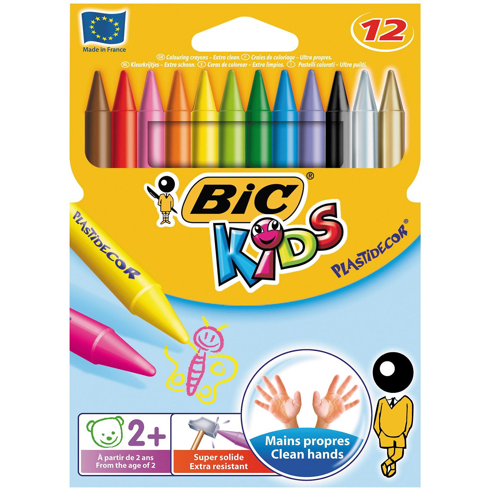 BIC  Мелки восковые цветные Три Пластидекор 12 цветовРисование<br>Прочные пластиковые мелки. Утолщенный трехгранный корпус. Не пачкает руки. Можно затачивать и стирать как карандаш. Хорошо закрашивает.<br><br>Ширина мм: 12<br>Глубина мм: 150<br>Высота мм: 135<br>Вес г: 80<br>Возраст от месяцев: 36<br>Возраст до месяцев: 1188<br>Пол: Унисекс<br>Возраст: Детский<br>SKU: 2493067